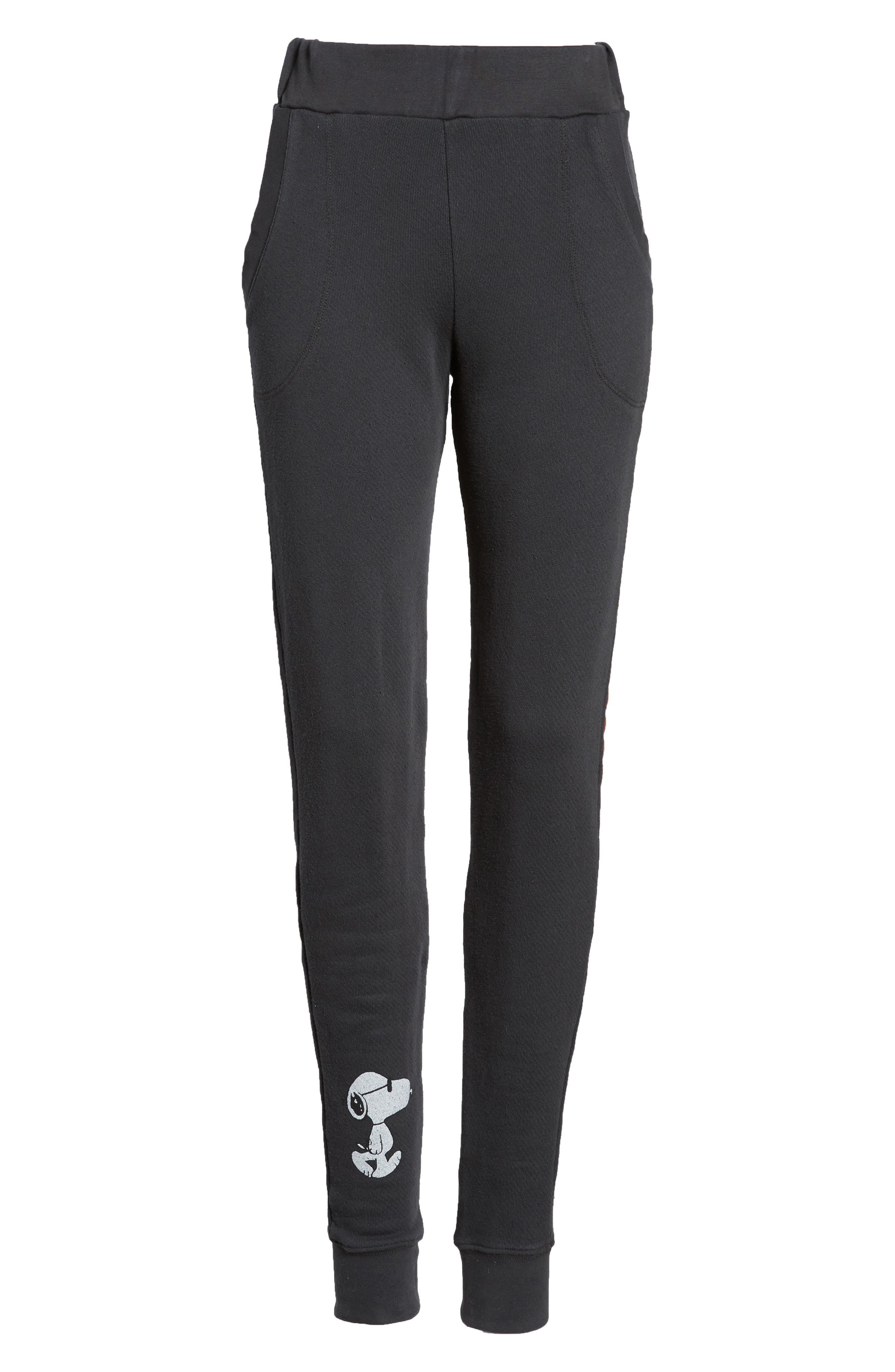 Snoopy Sweatpants,                         Main,                         color, Black