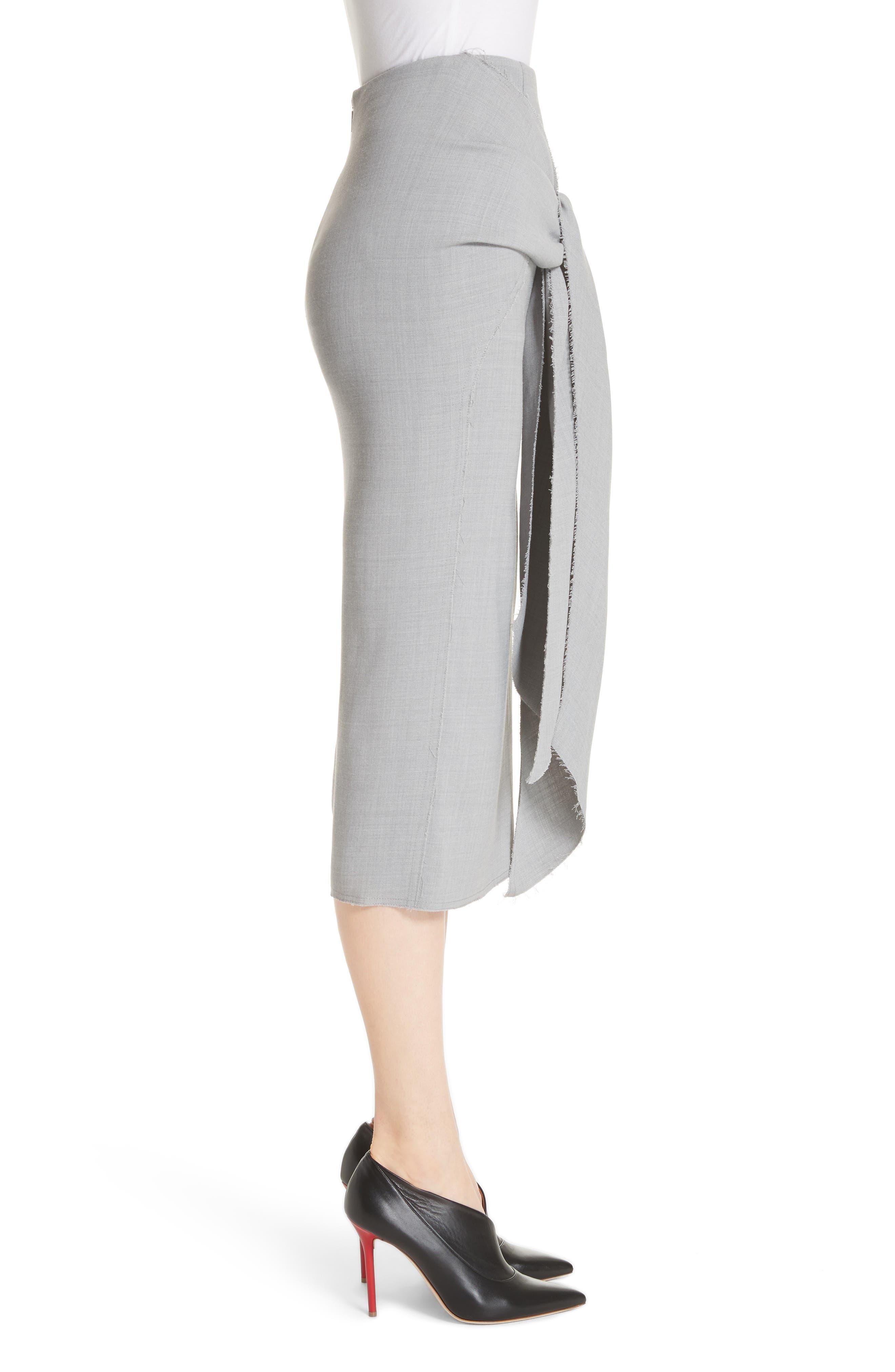 Raw Hem Tie Front Skirt,                             Alternate thumbnail 3, color,                             Light Grey Melange