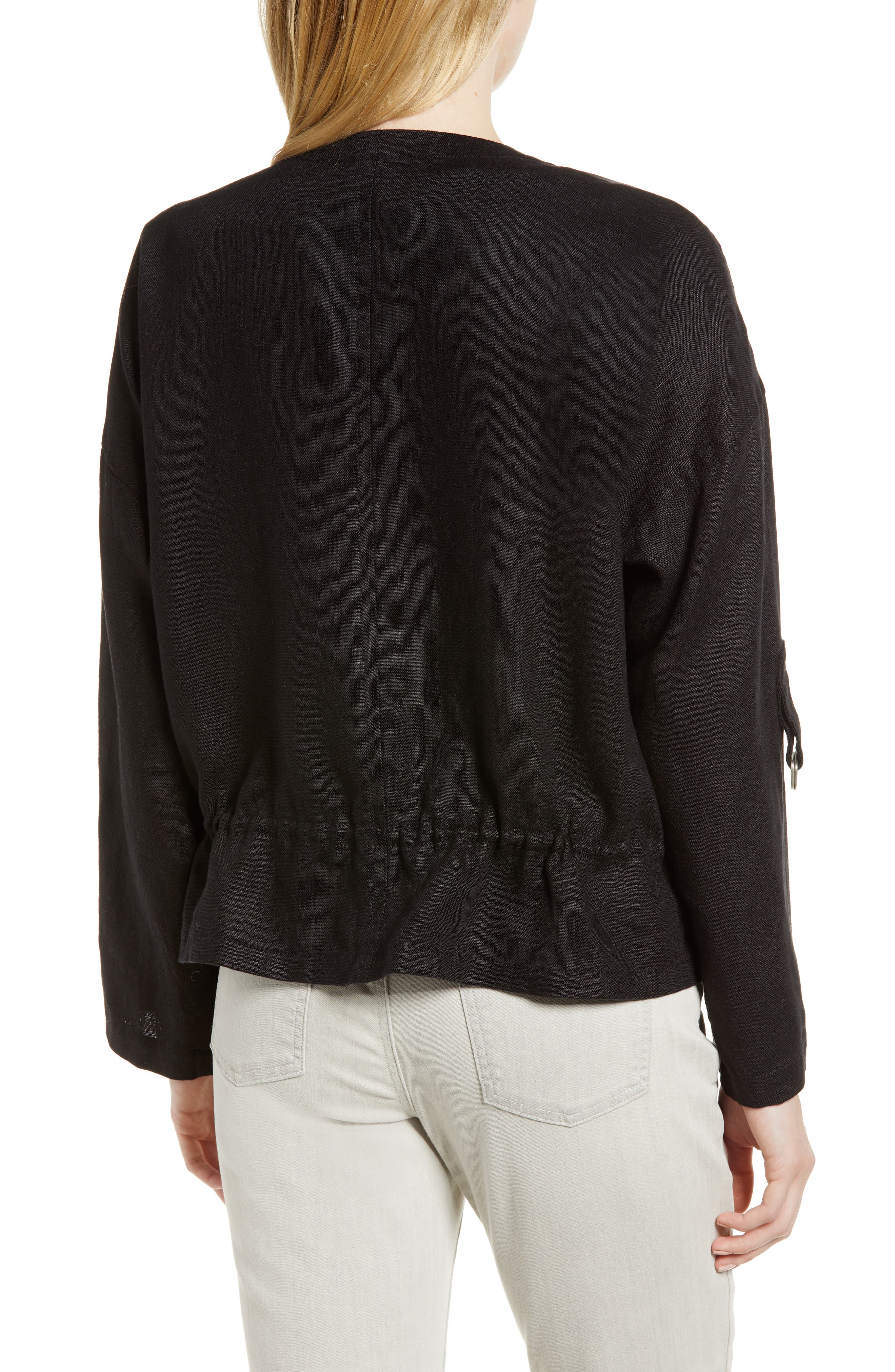 Drawstring Organic Linen Jacket,                             Alternate thumbnail 2, color,                             Black