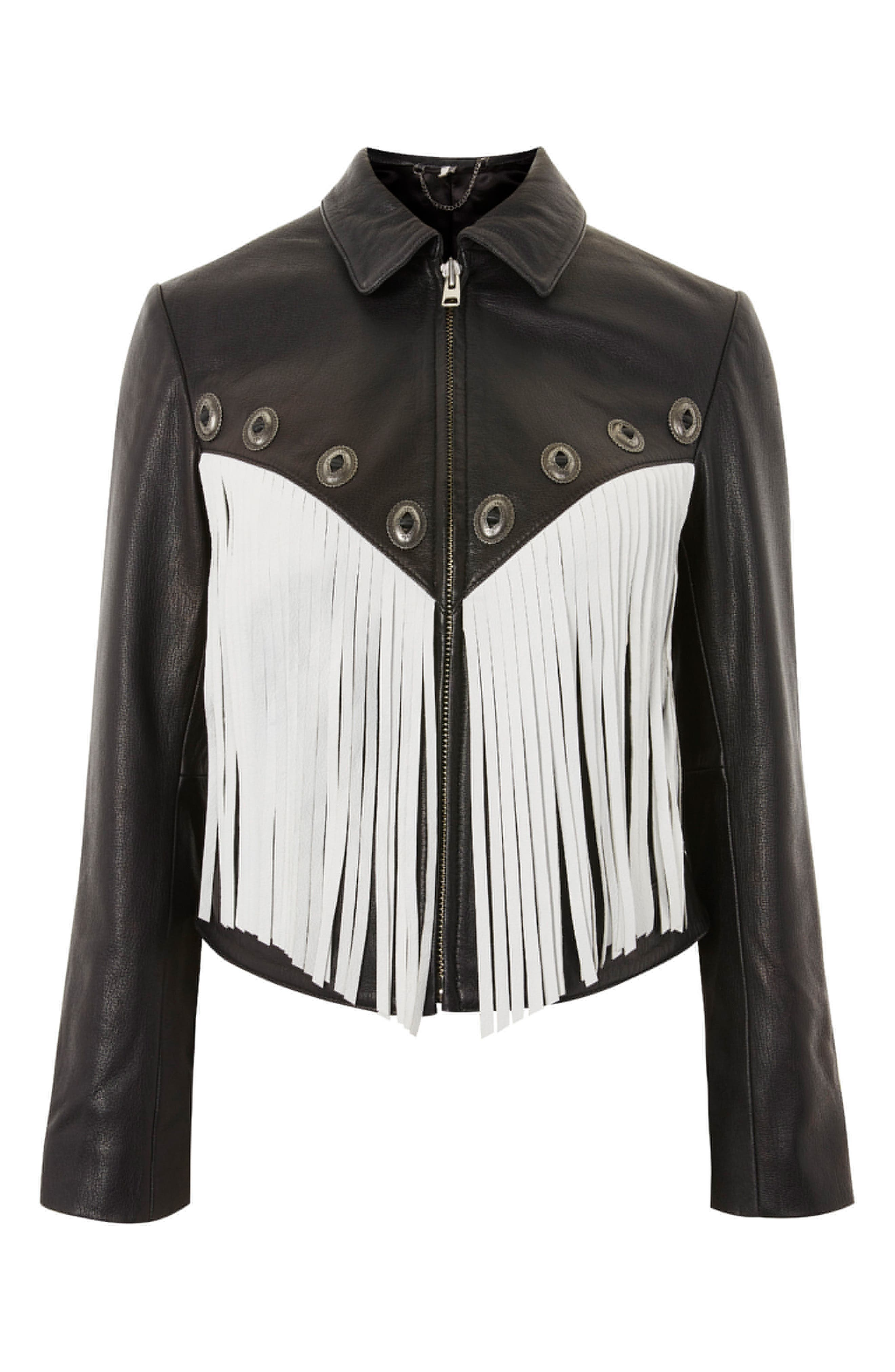 Austin Fringe Leather Biker Jacket,                             Alternate thumbnail 6, color,                             Black Multi