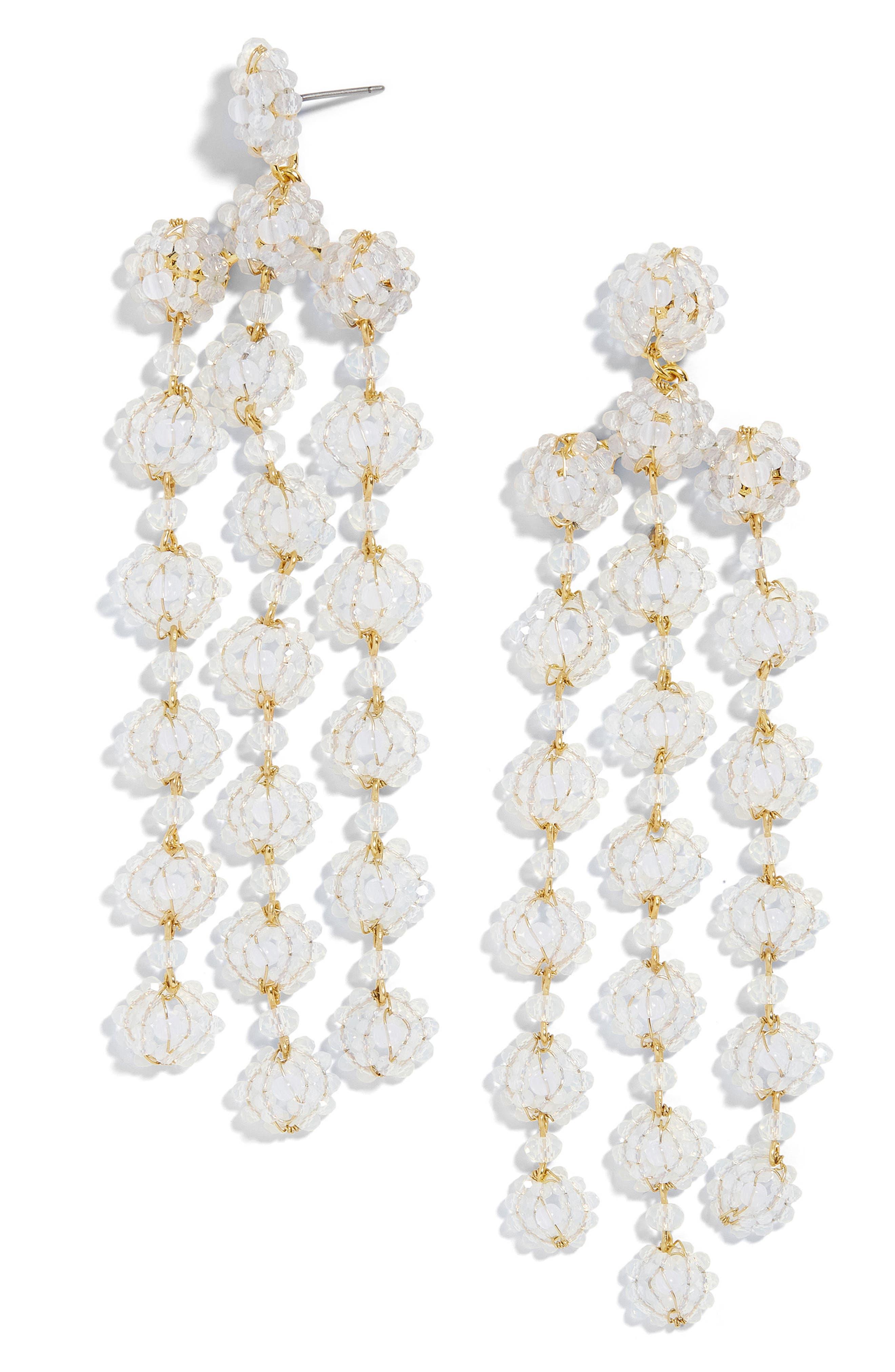 Shiori Beaded Chandelier Earrings,                             Main thumbnail 1, color,                             White