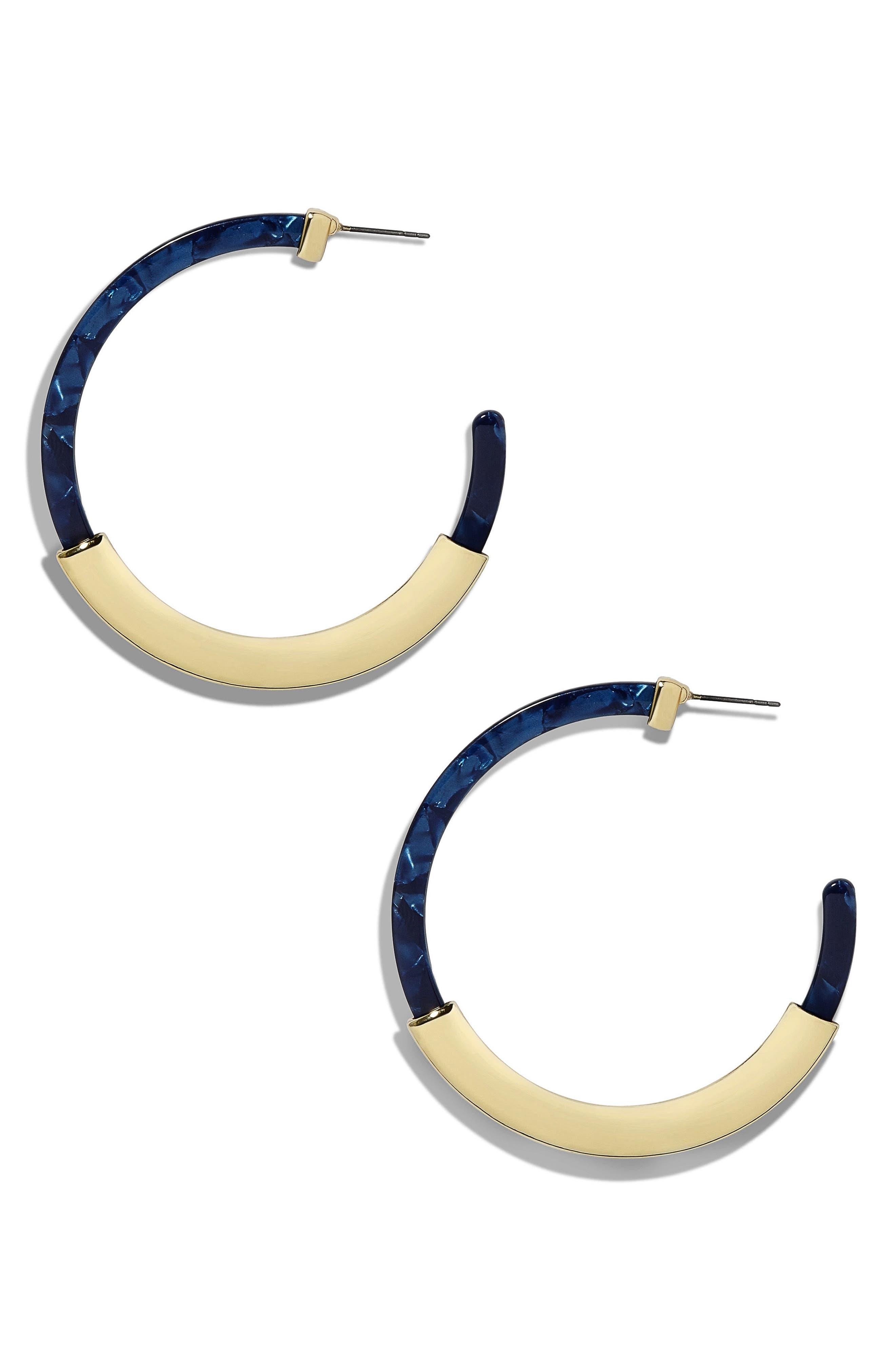 Tassiana Gold & Acrylic Hoop Earrings,                         Main,                         color, Cobalt
