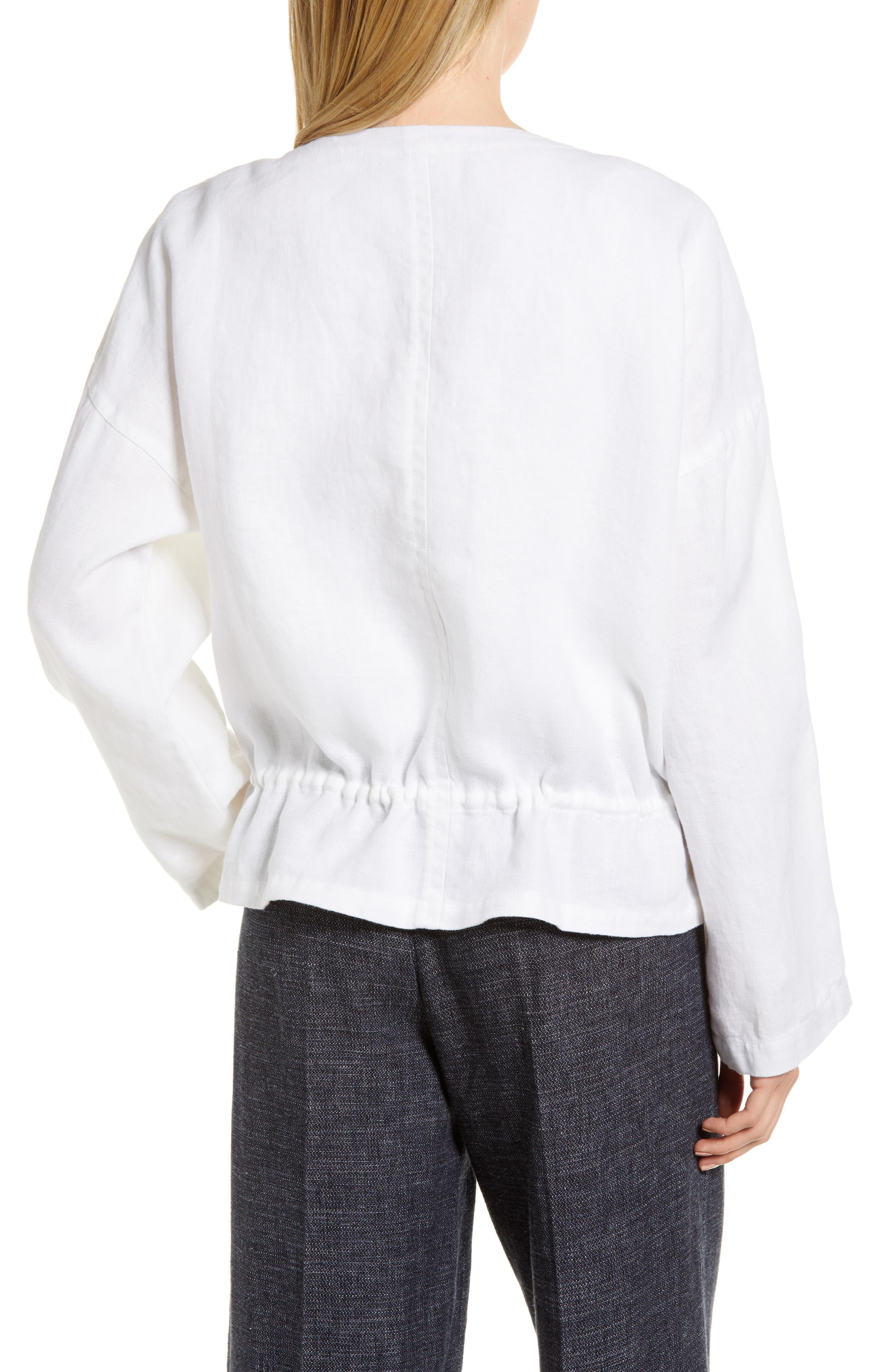 Drawstring Organic Linen Jacket,                             Alternate thumbnail 2, color,                             White