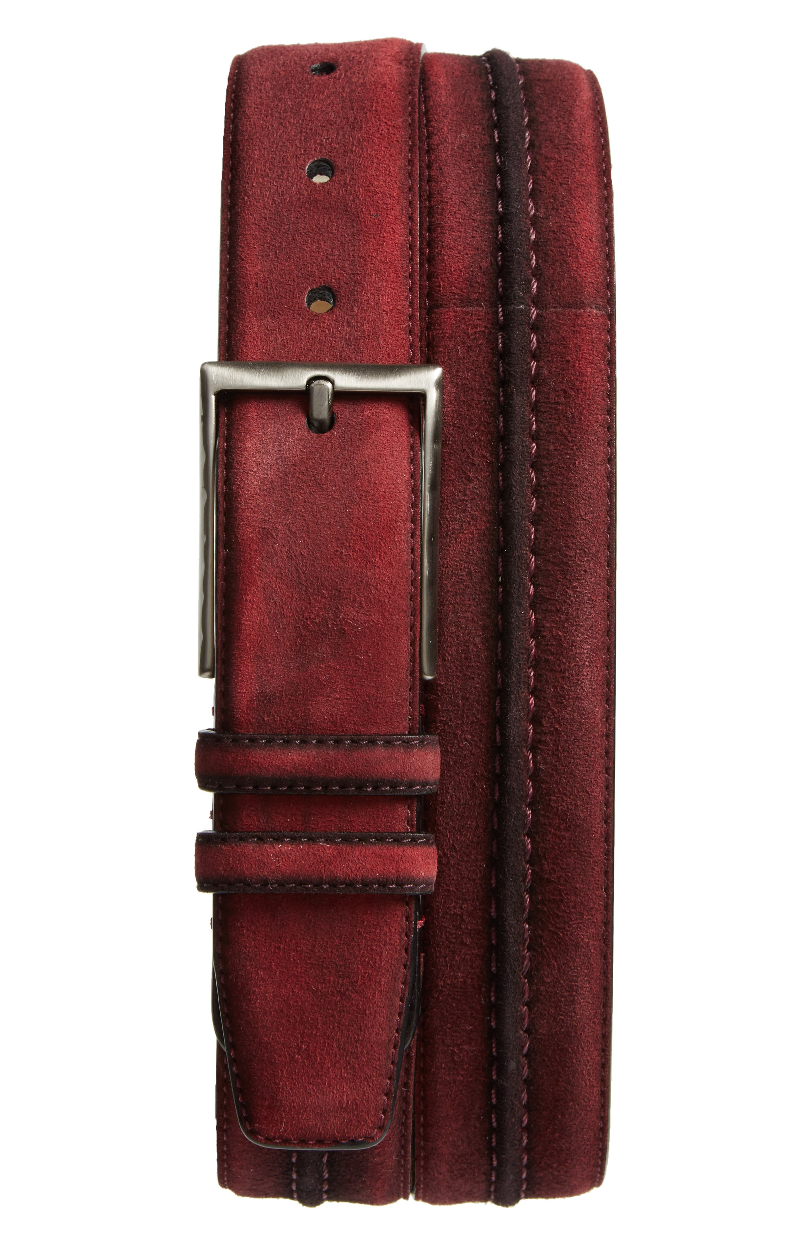 Suede Belt,                             Main thumbnail 1, color,                             Red