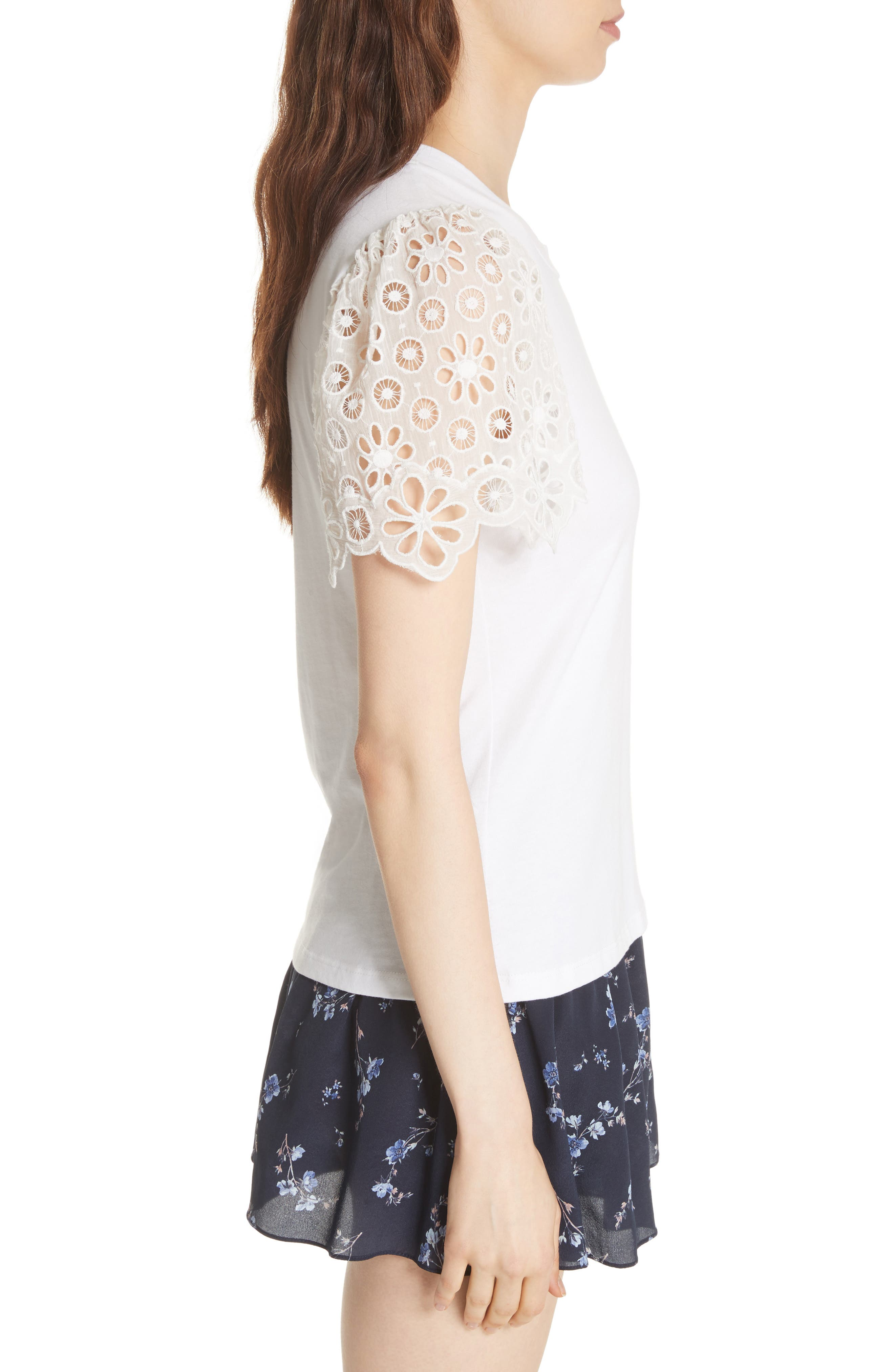 Lace Sleeve Cotton Jersey Top,                             Alternate thumbnail 3, color,                             Milk