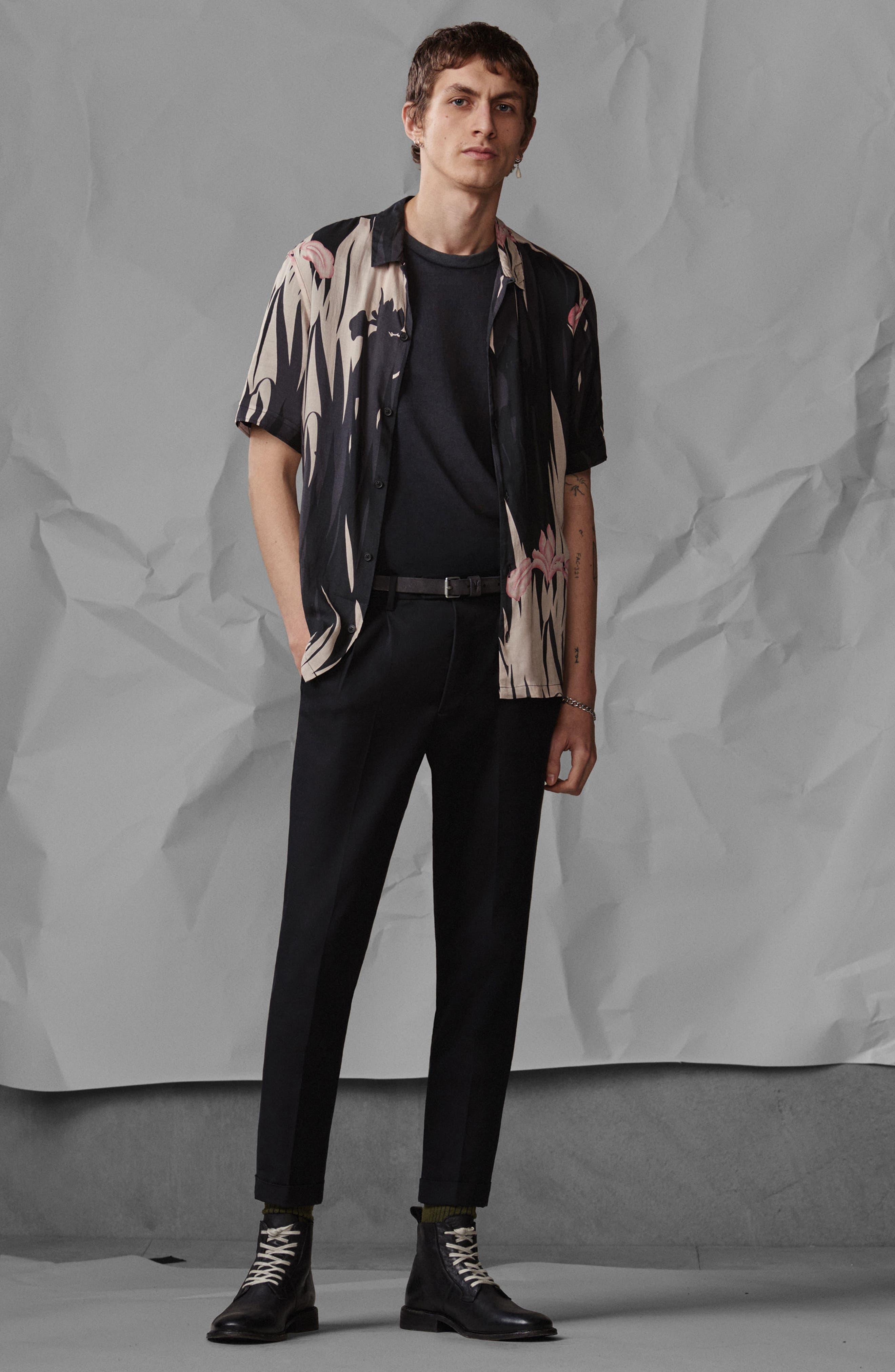Nahiku Slim Fit Sport Shirt,                             Alternate thumbnail 5, color,                             Black
