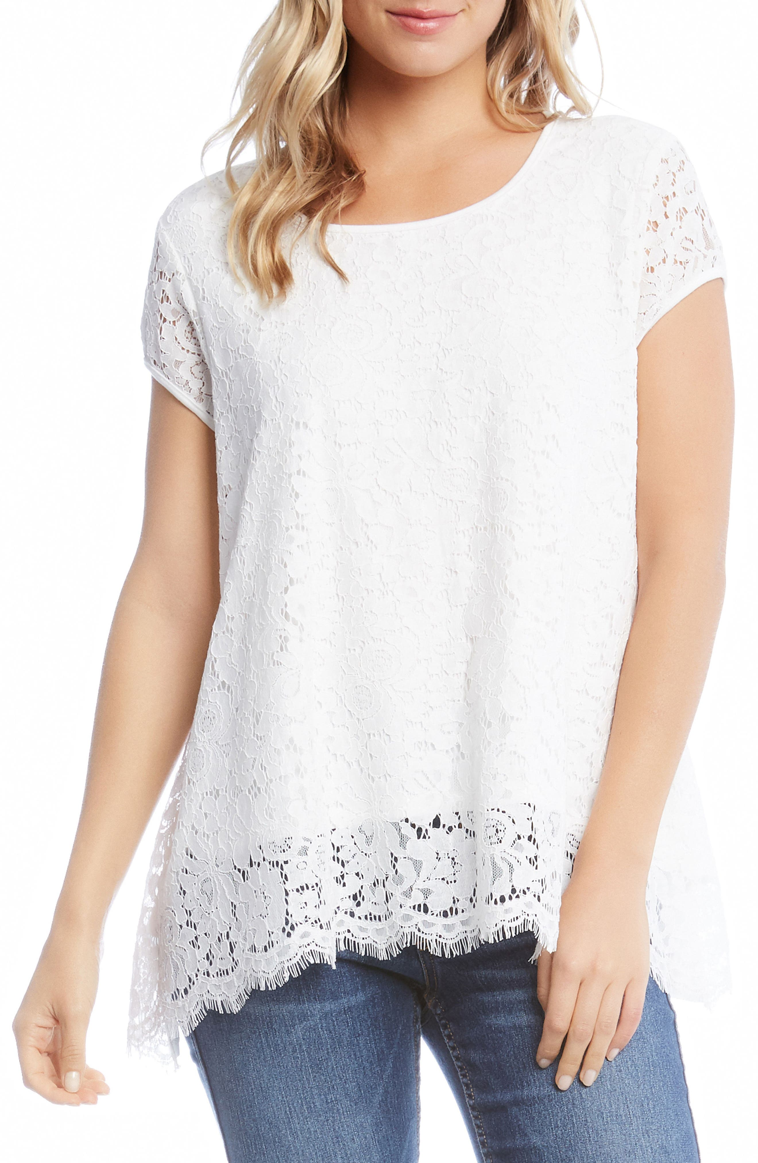 Lace Top,                         Main,                         color, Off White