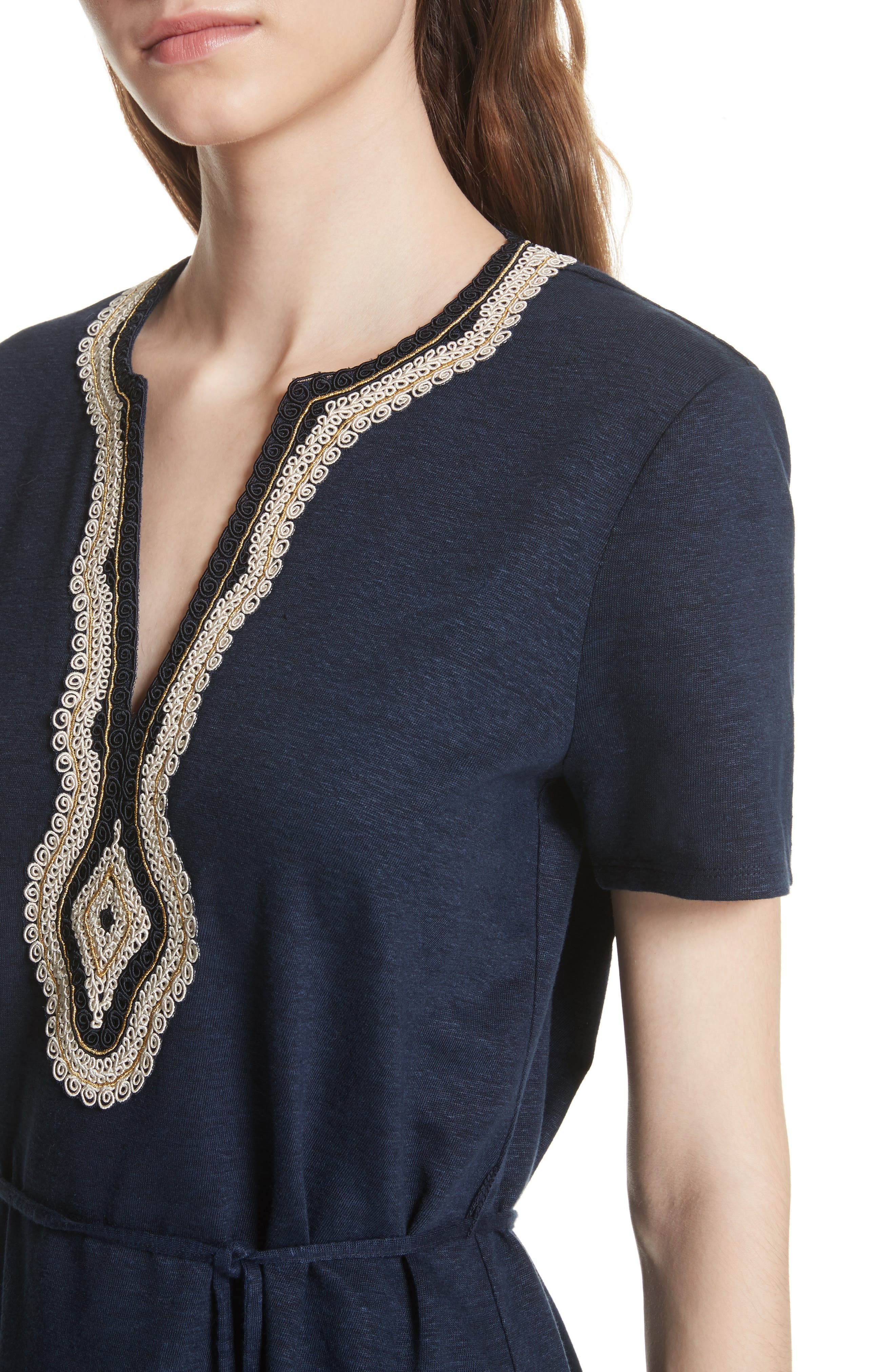 Embroidered Knit Dress,                             Alternate thumbnail 4, color,                             Tory Navy