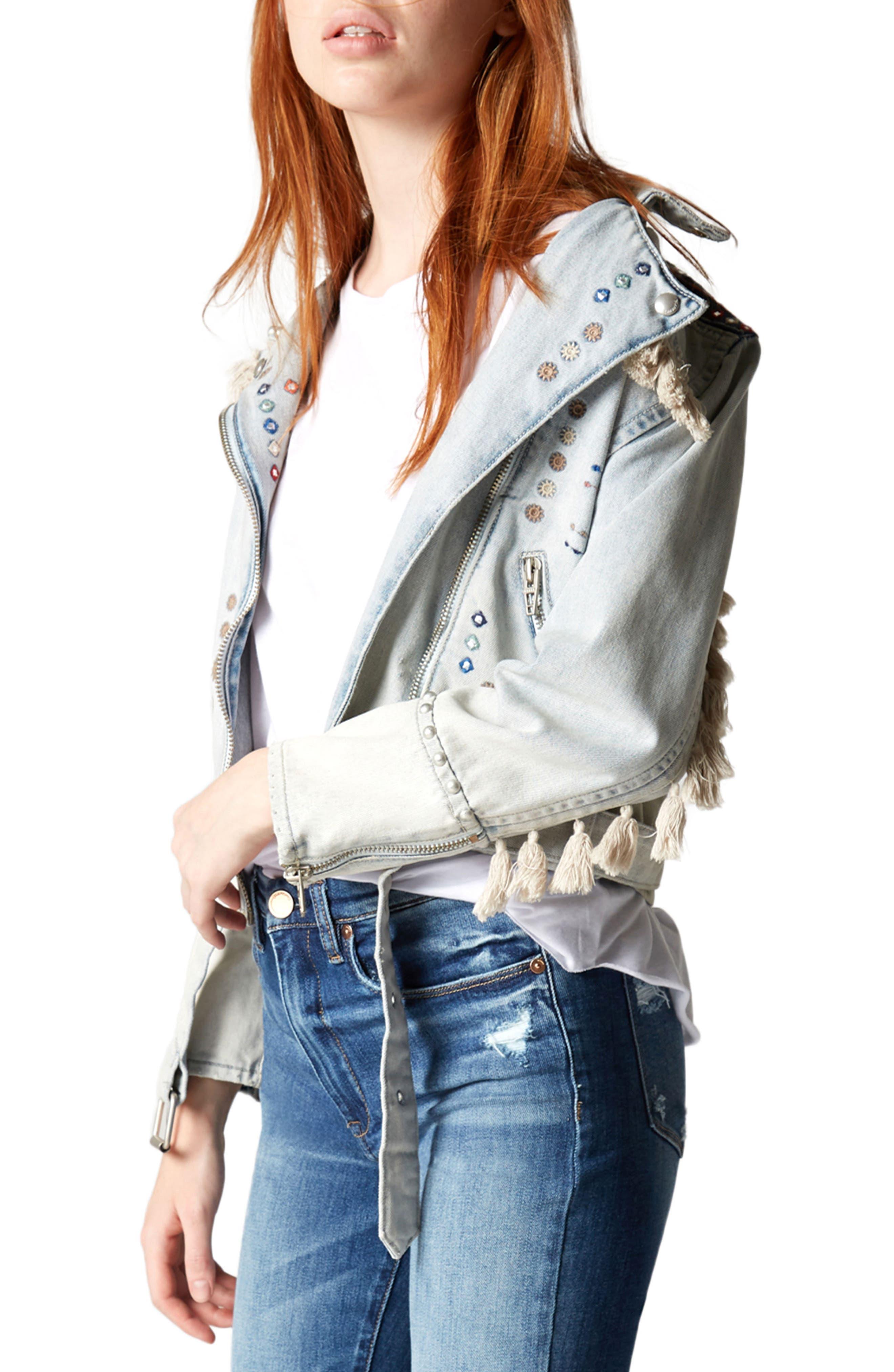Alternate Image 1 Selected - BLANKNYC Wind Tassel Trim Denim Jacket
