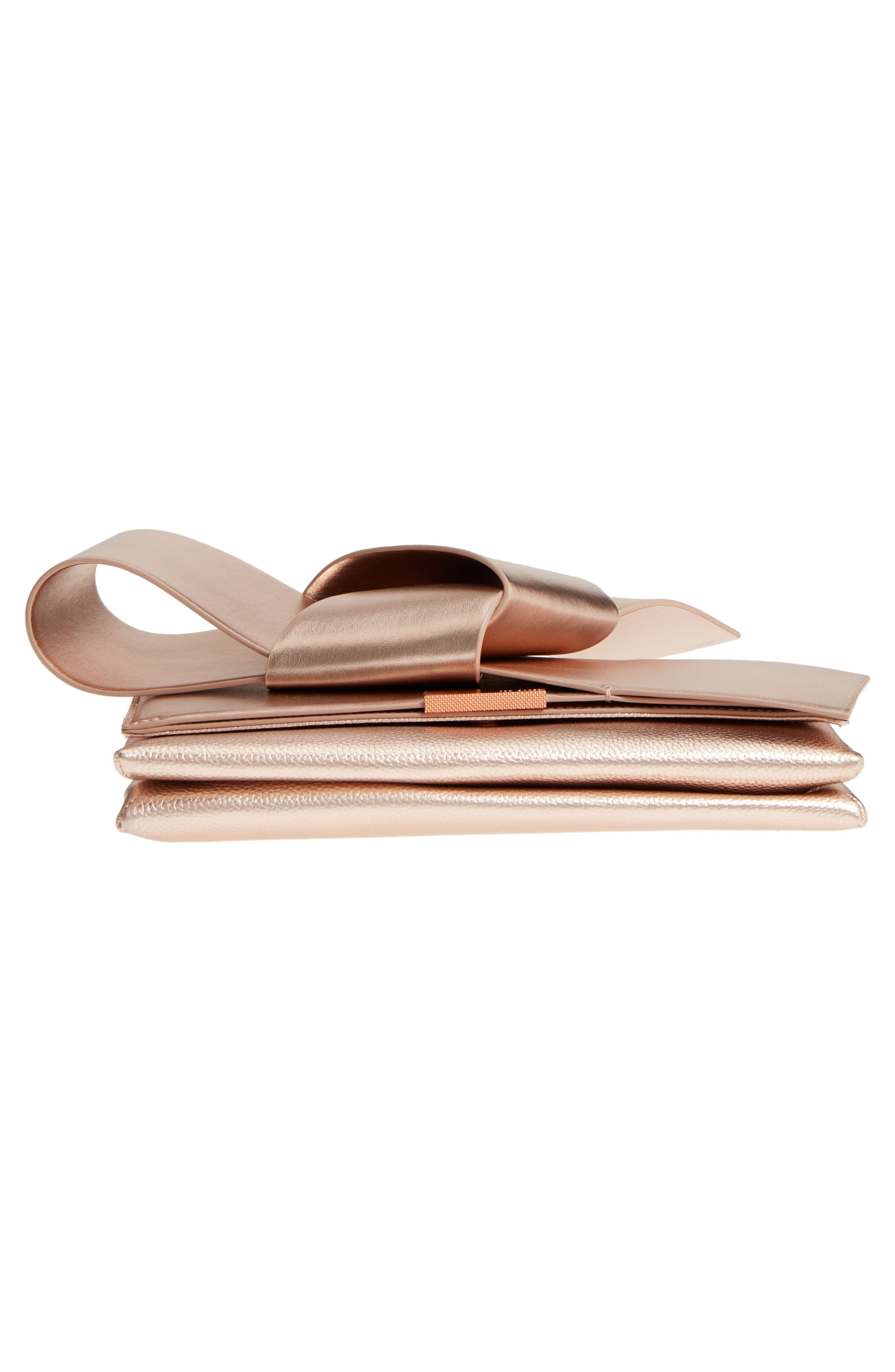 Knotted Bow Leather Clutch,                             Alternate thumbnail 6, color,                             Rose Gold