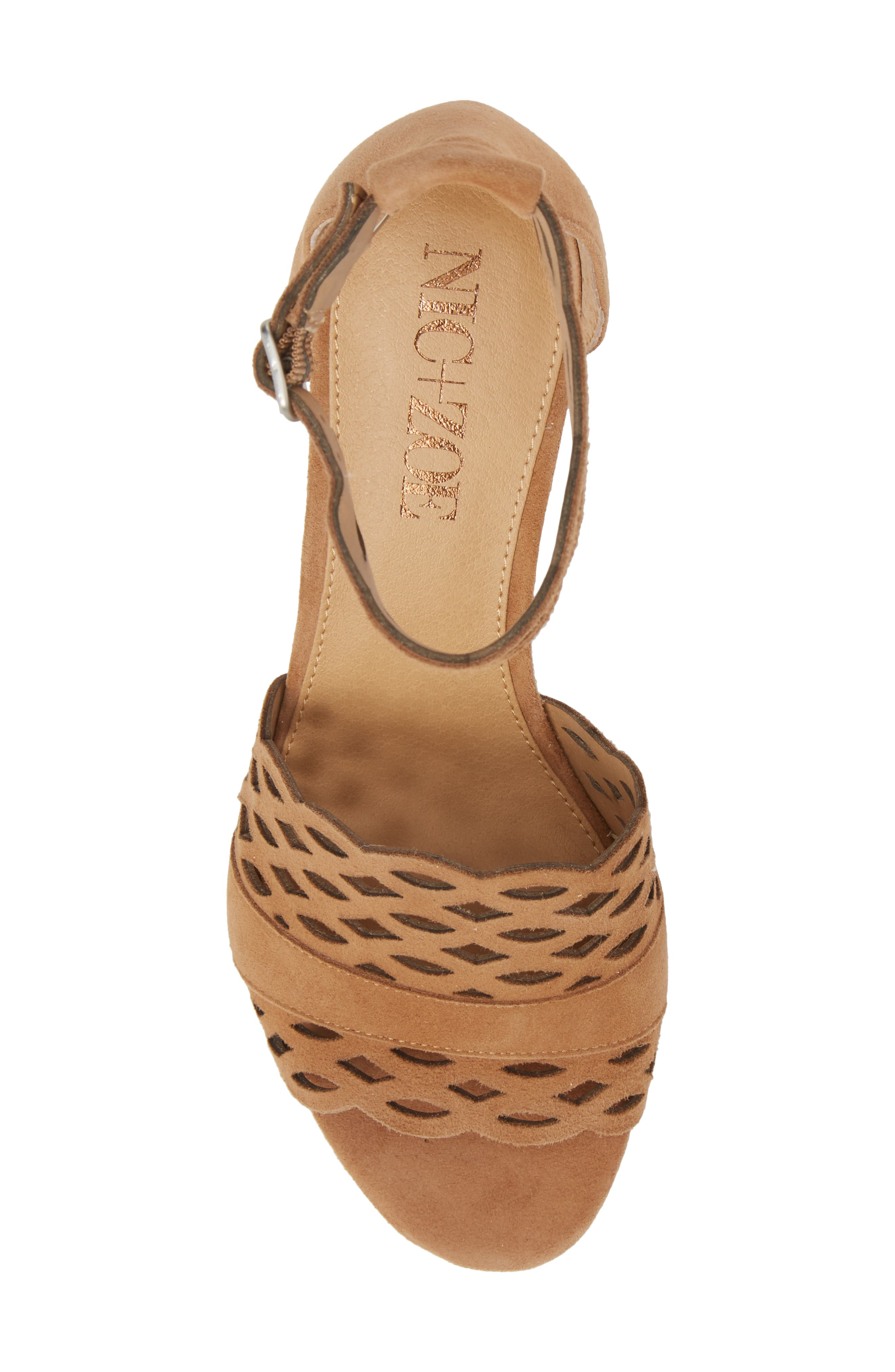 Flora Wedge Sandal,                             Alternate thumbnail 5, color,                             Fawn Leather