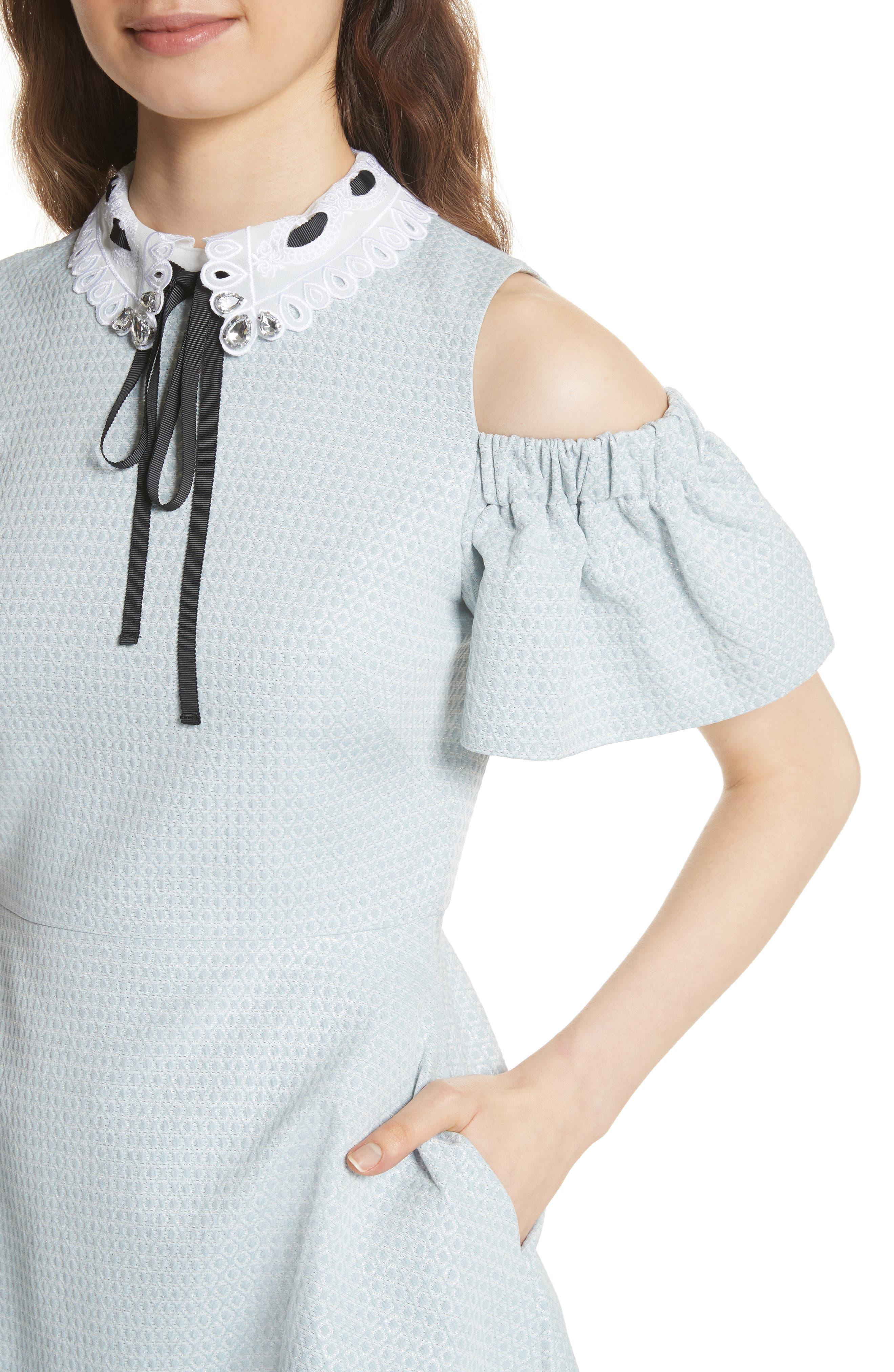 Cold Shoulder Skater Dress,                             Alternate thumbnail 4, color,                             Baby Blue