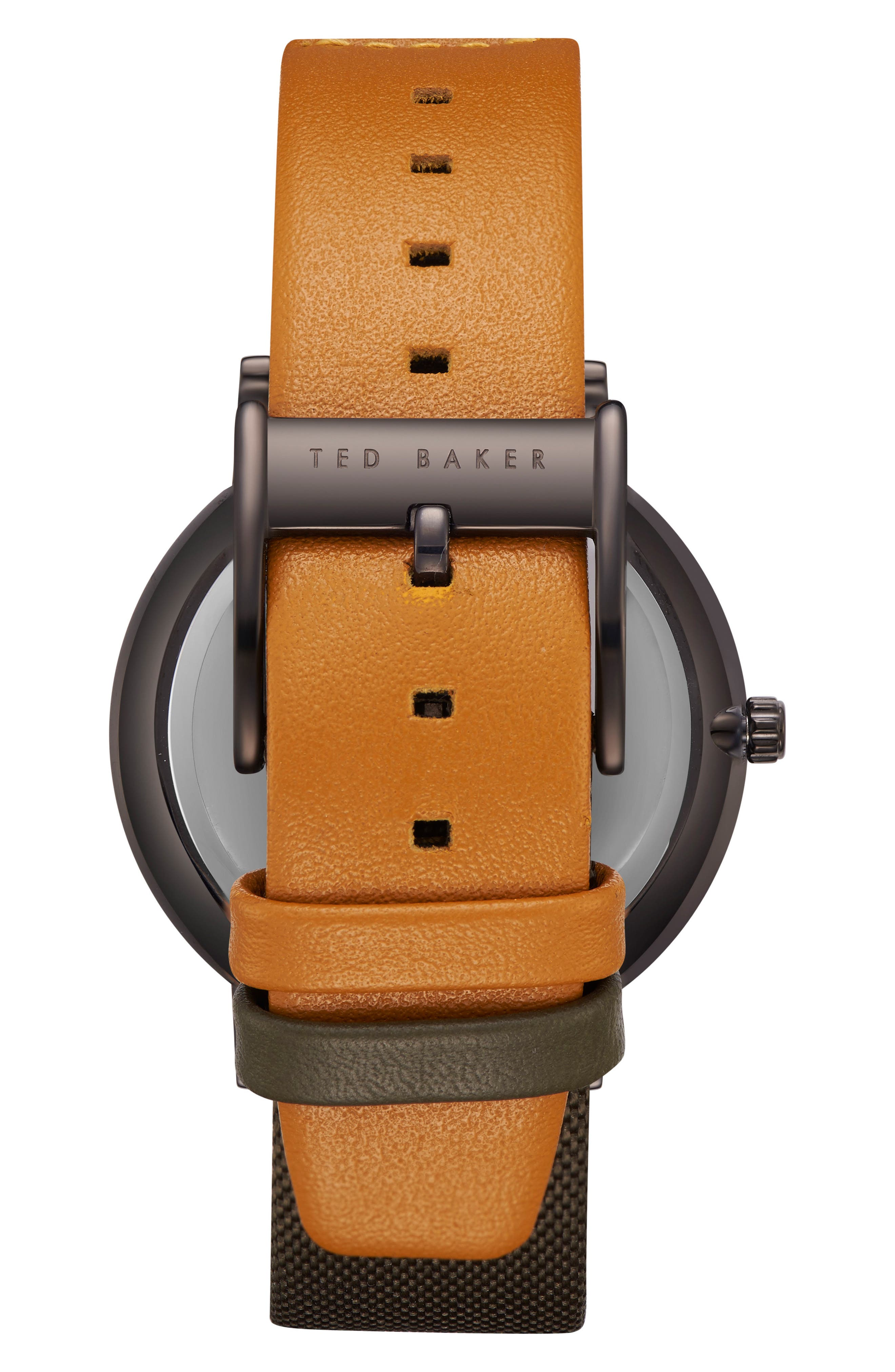 Brit Leather Strap Watch, 40mm,                             Alternate thumbnail 3, color,                             Light Brown/ Dark Green