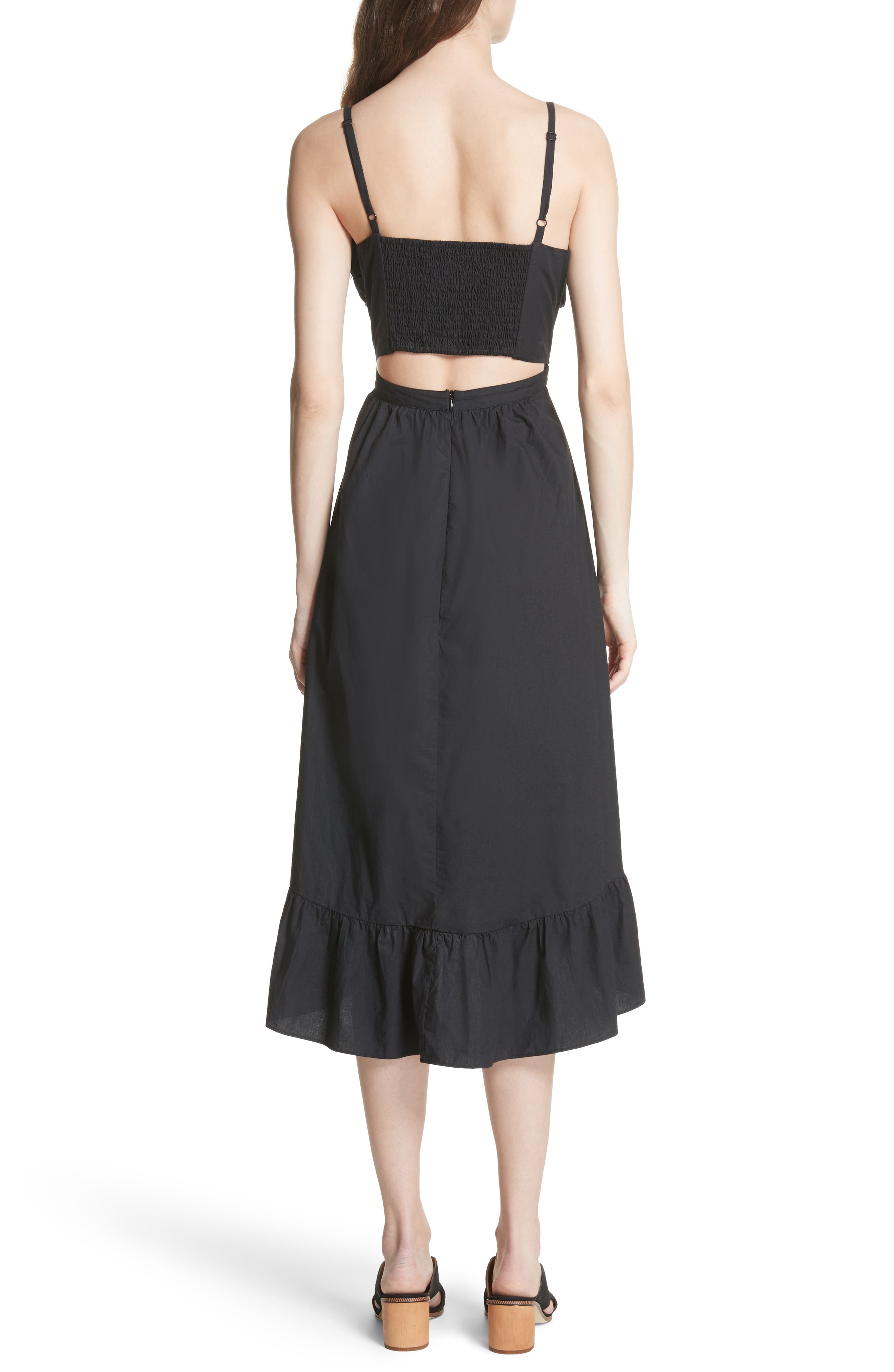 Clorinda Tie Front Cutout Cotton Dress,                             Alternate thumbnail 2, color,                             Caviar