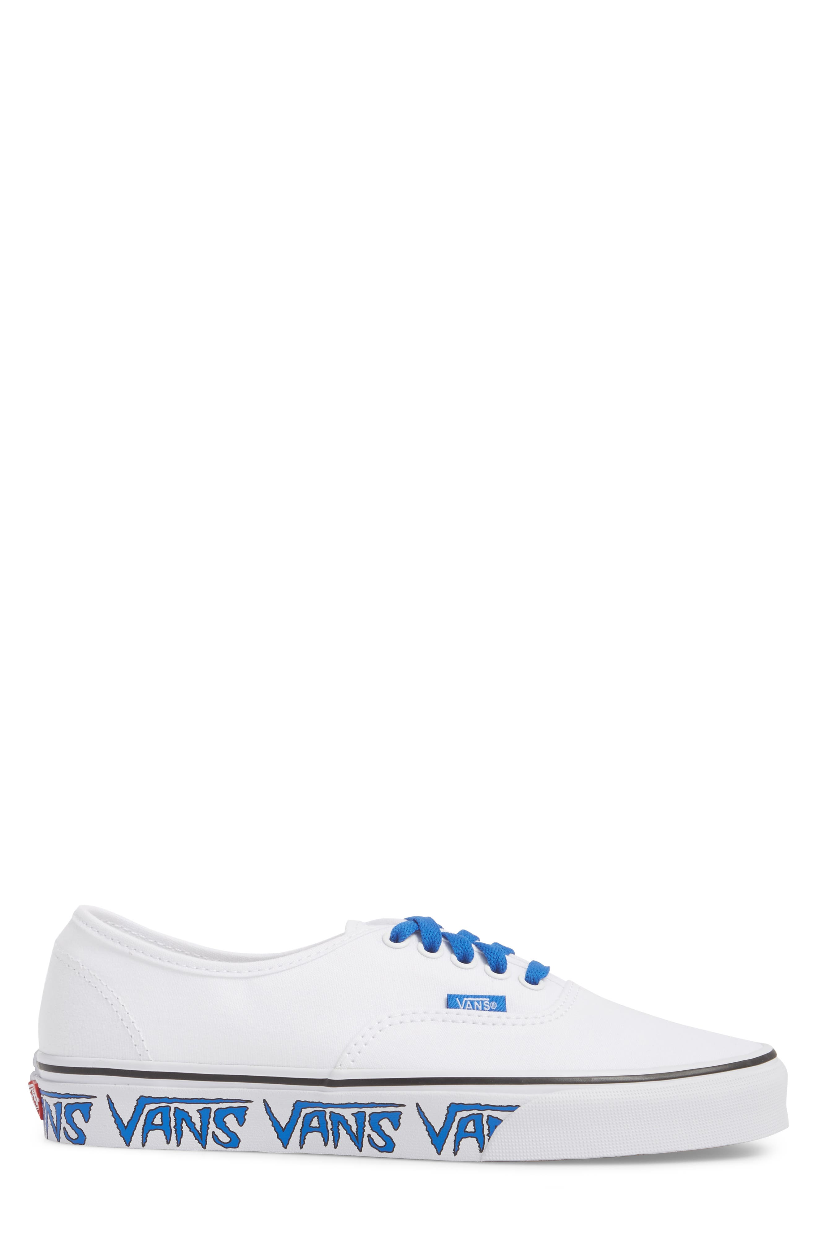 Authentic Sketch Sidewall Sneaker,                             Alternate thumbnail 3, color,                             True White/ Victoria Blue
