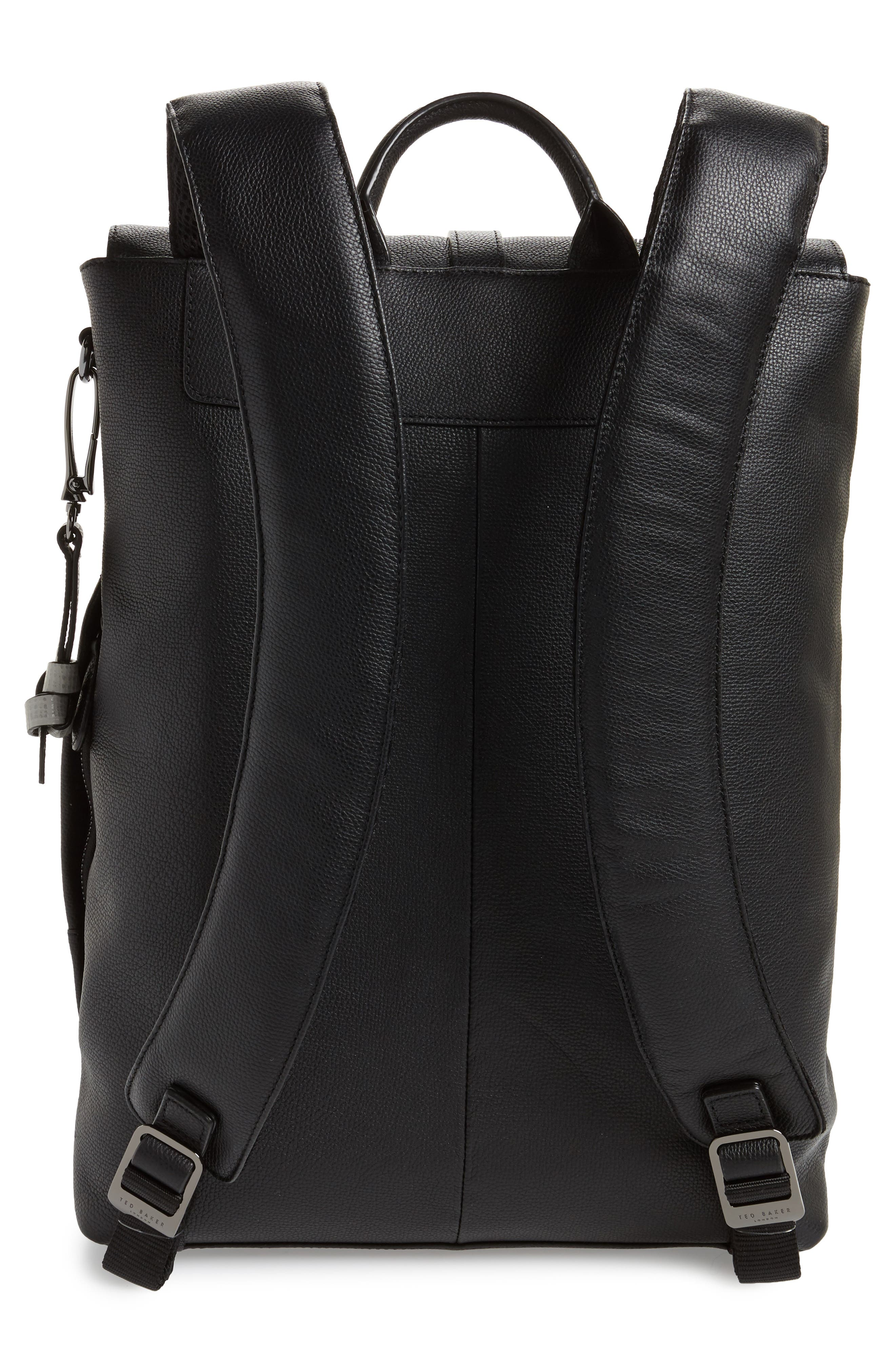 Beach Leather Backpack,                             Alternate thumbnail 3, color,                             Black
