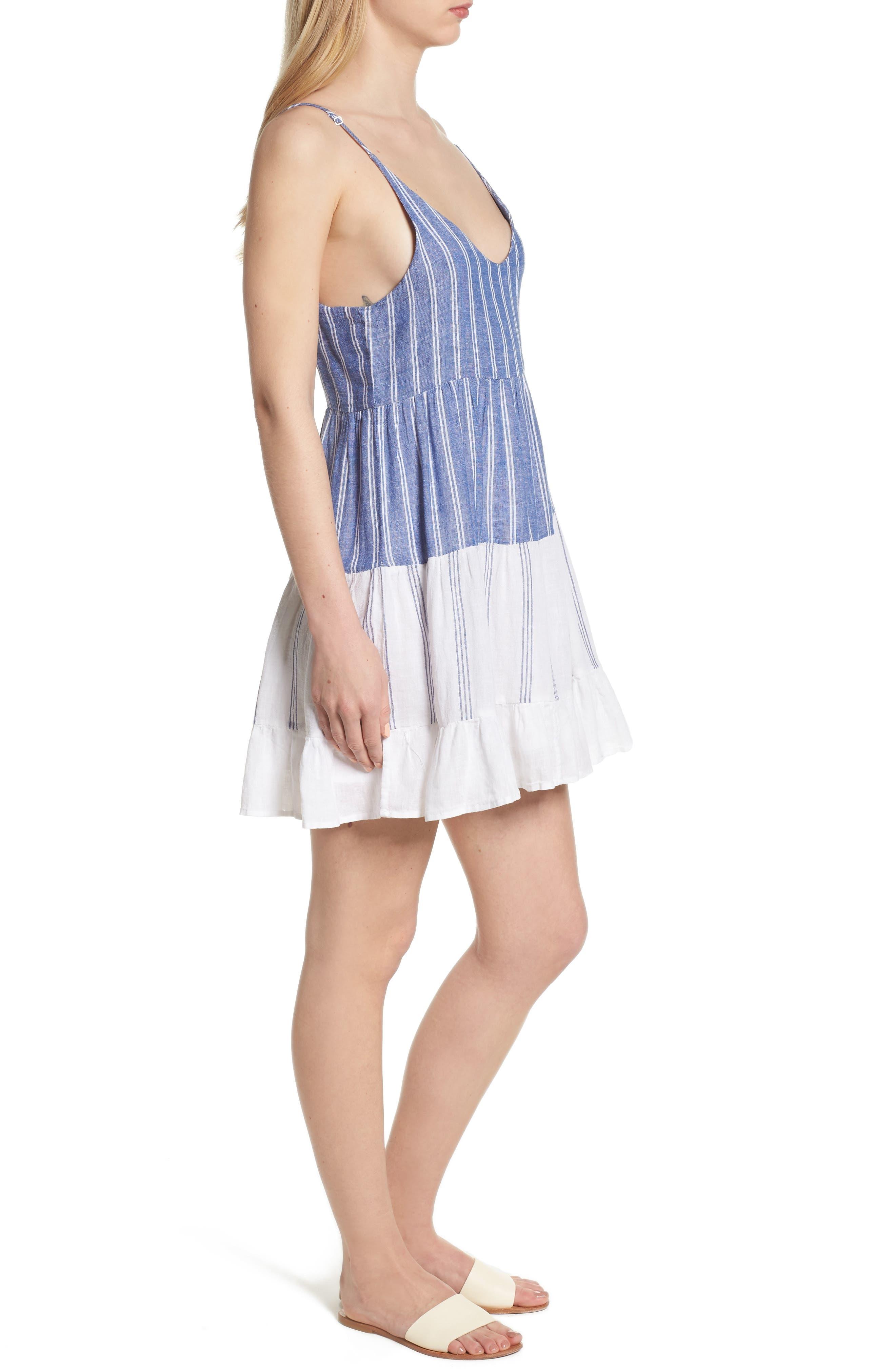 Mattie Dress,                             Alternate thumbnail 3, color,                             Mixed Blues Stripe