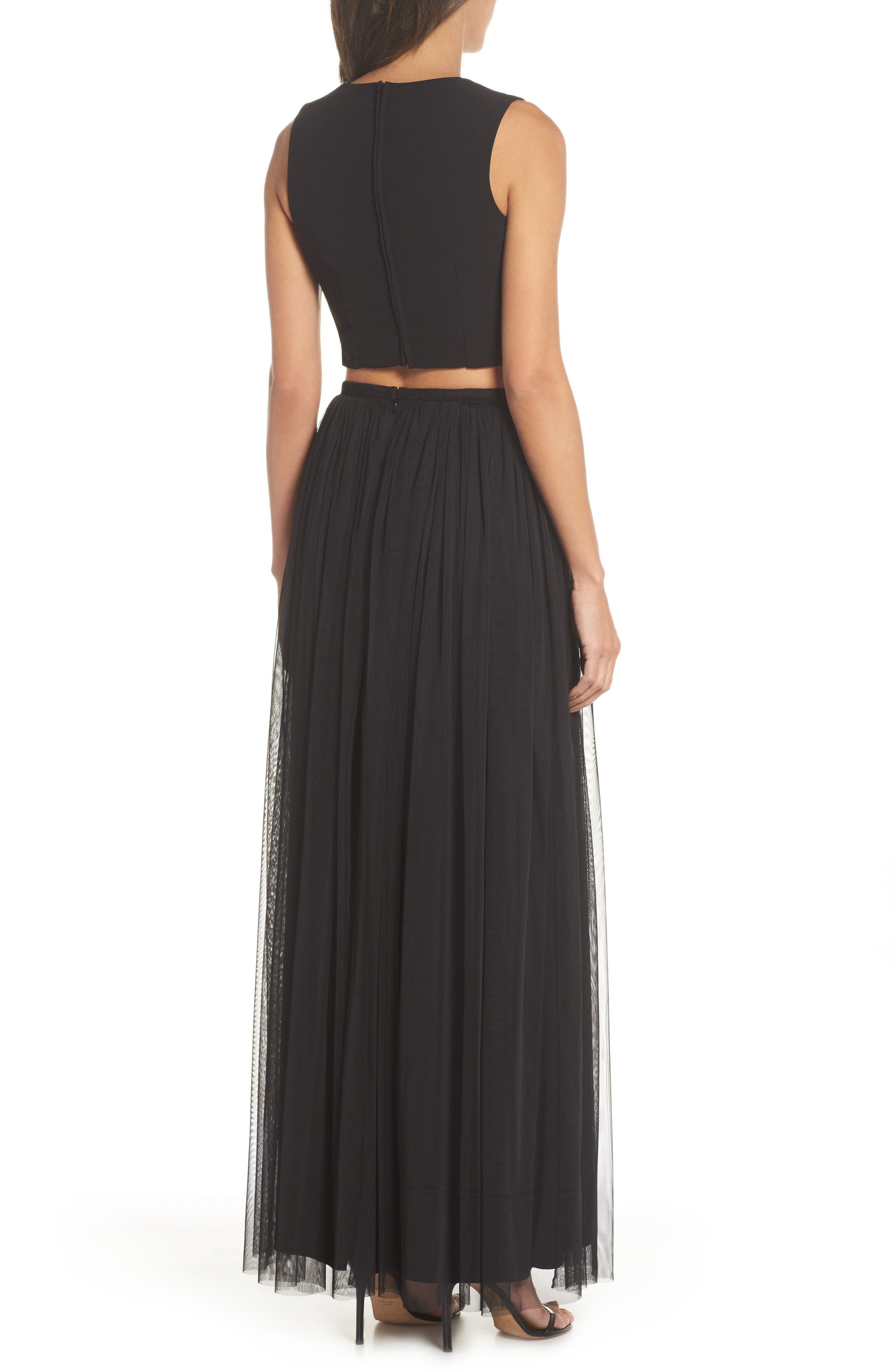Beaded Two-Piece Gown,                             Alternate thumbnail 2, color,                             Black Multi