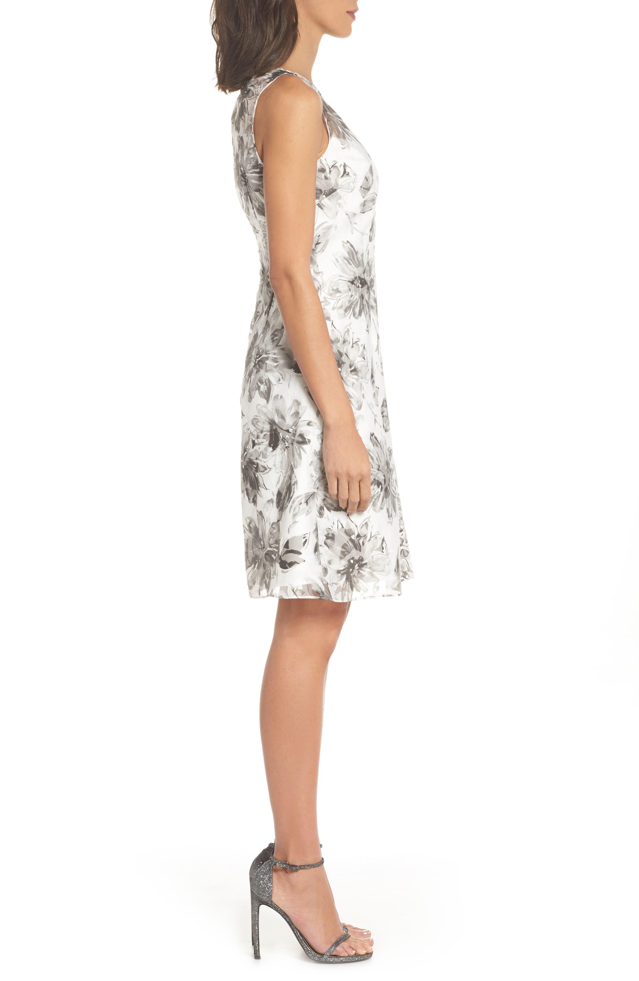 Burnout A-Line Dress,                             Alternate thumbnail 3, color,                             Black Multi