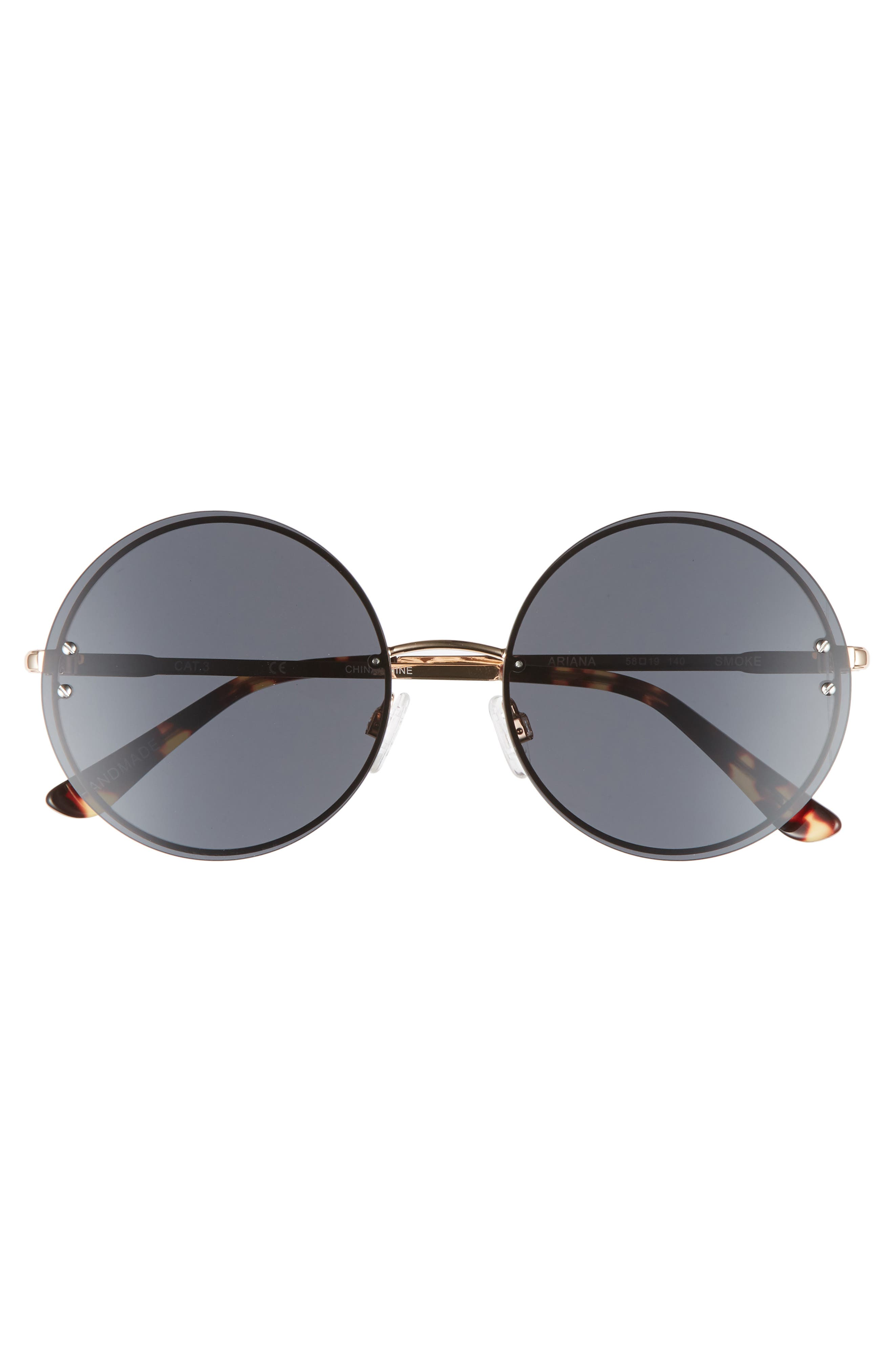 Ariana 58mm Round Sunglasses,                             Alternate thumbnail 3, color,                             Solid Smoke