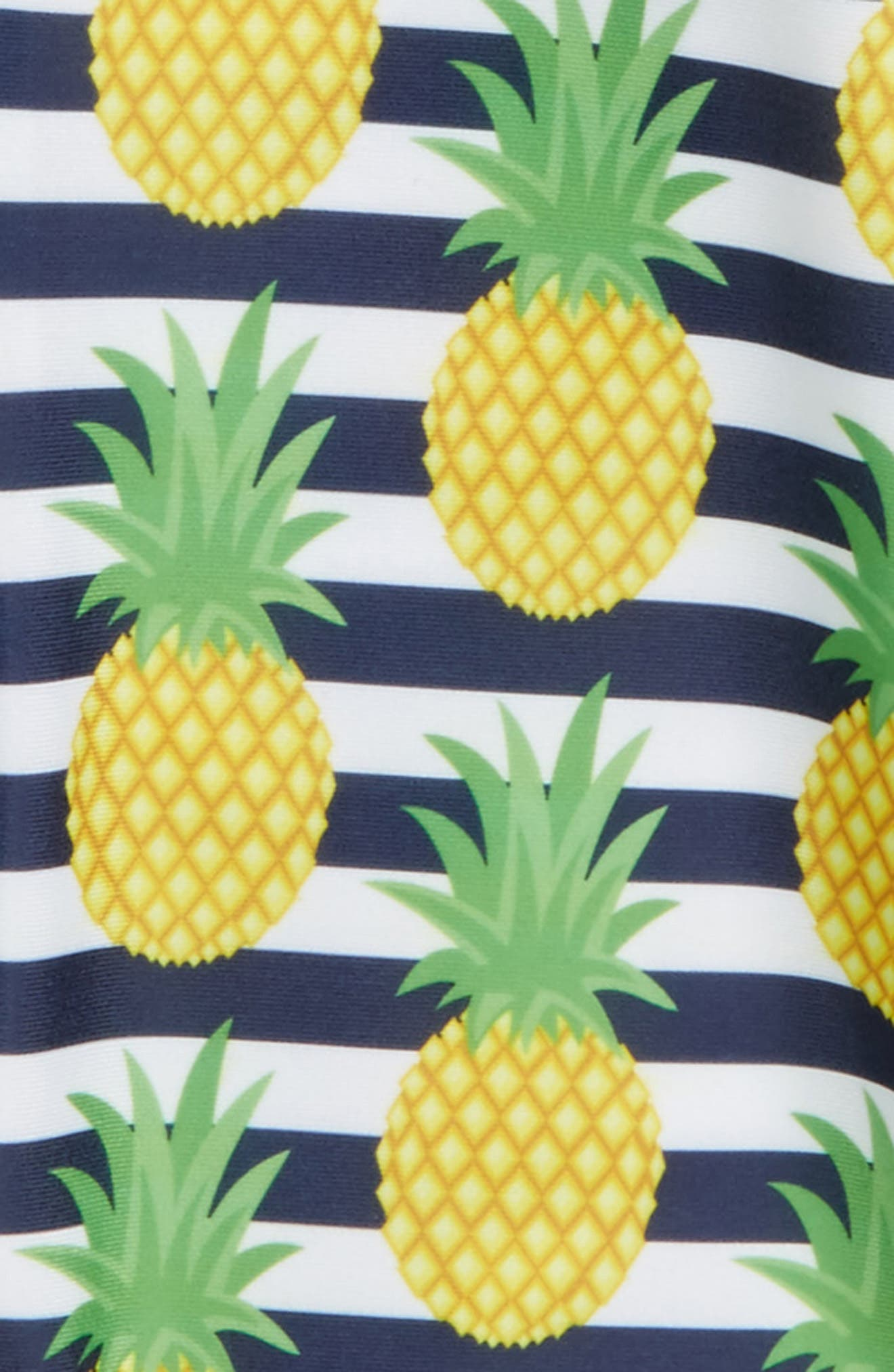Preppy Pineapples One-Piece Rashguard Swimsuit,                             Alternate thumbnail 2, color,                             Blue Multi