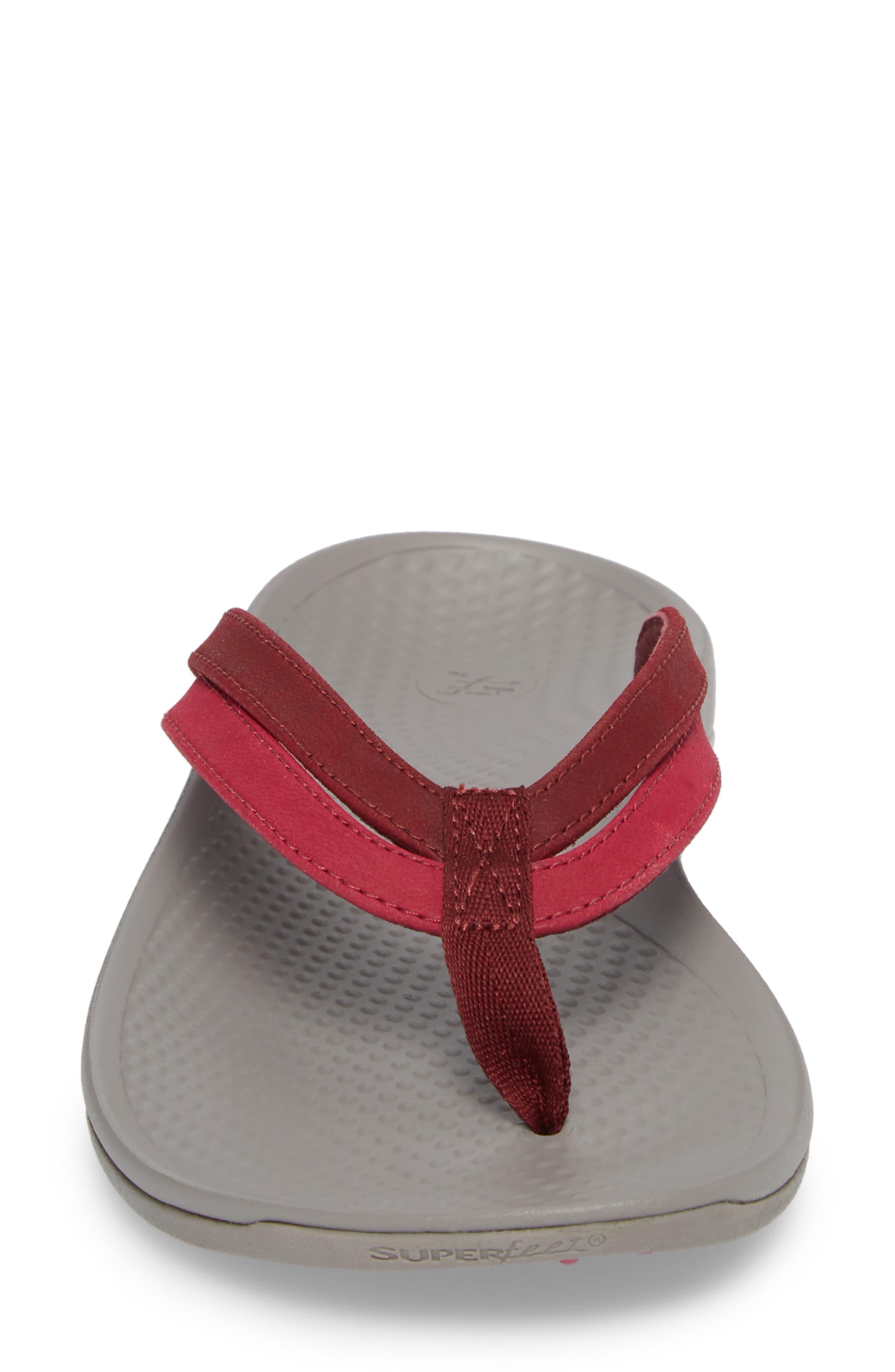 Rose Flip Flop,                             Alternate thumbnail 4, color,                             Red Faux Leather
