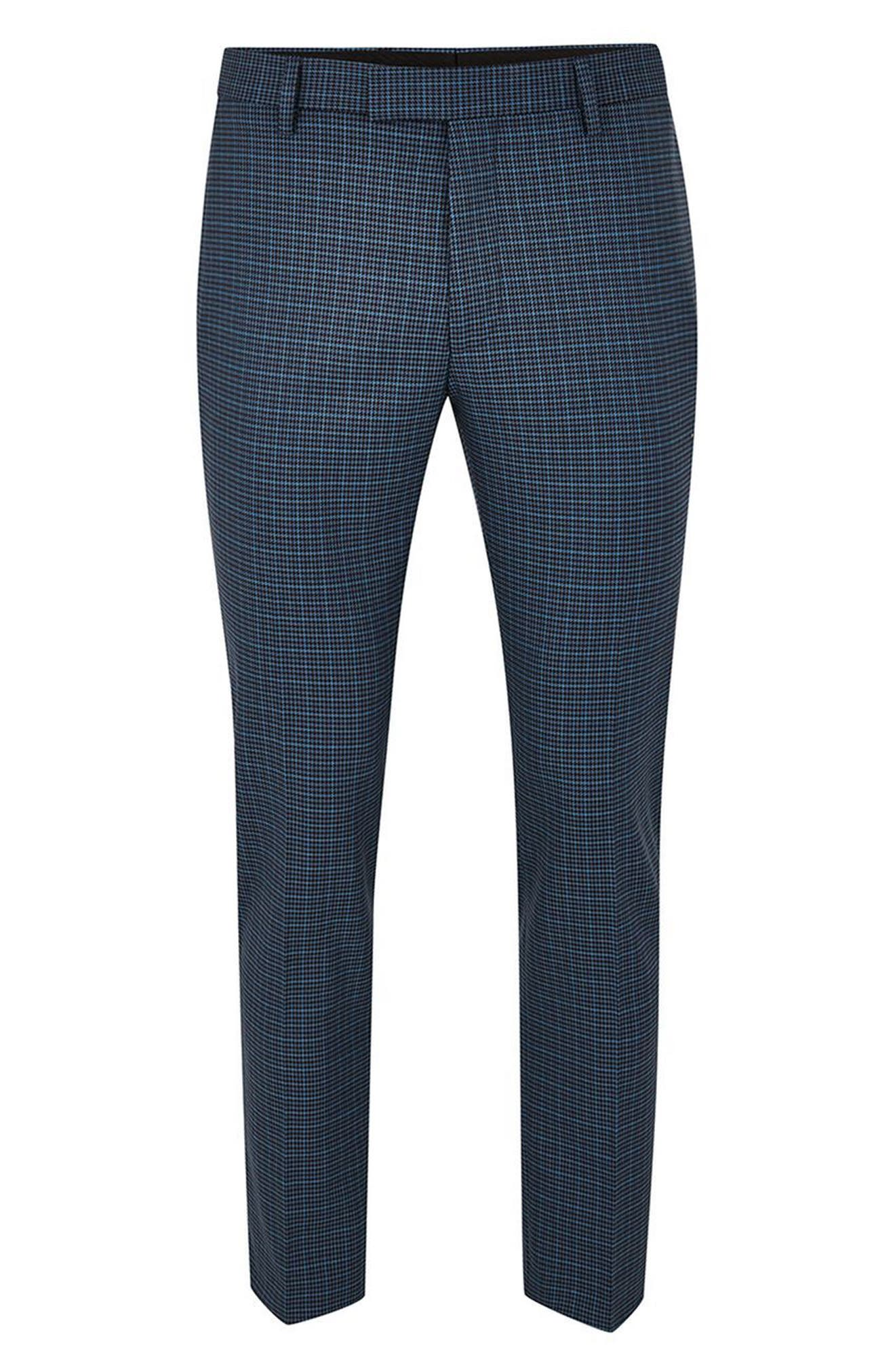 Check Skinny Fit Suit Trousers,                             Alternate thumbnail 4, color,                             Mid Blue Multi