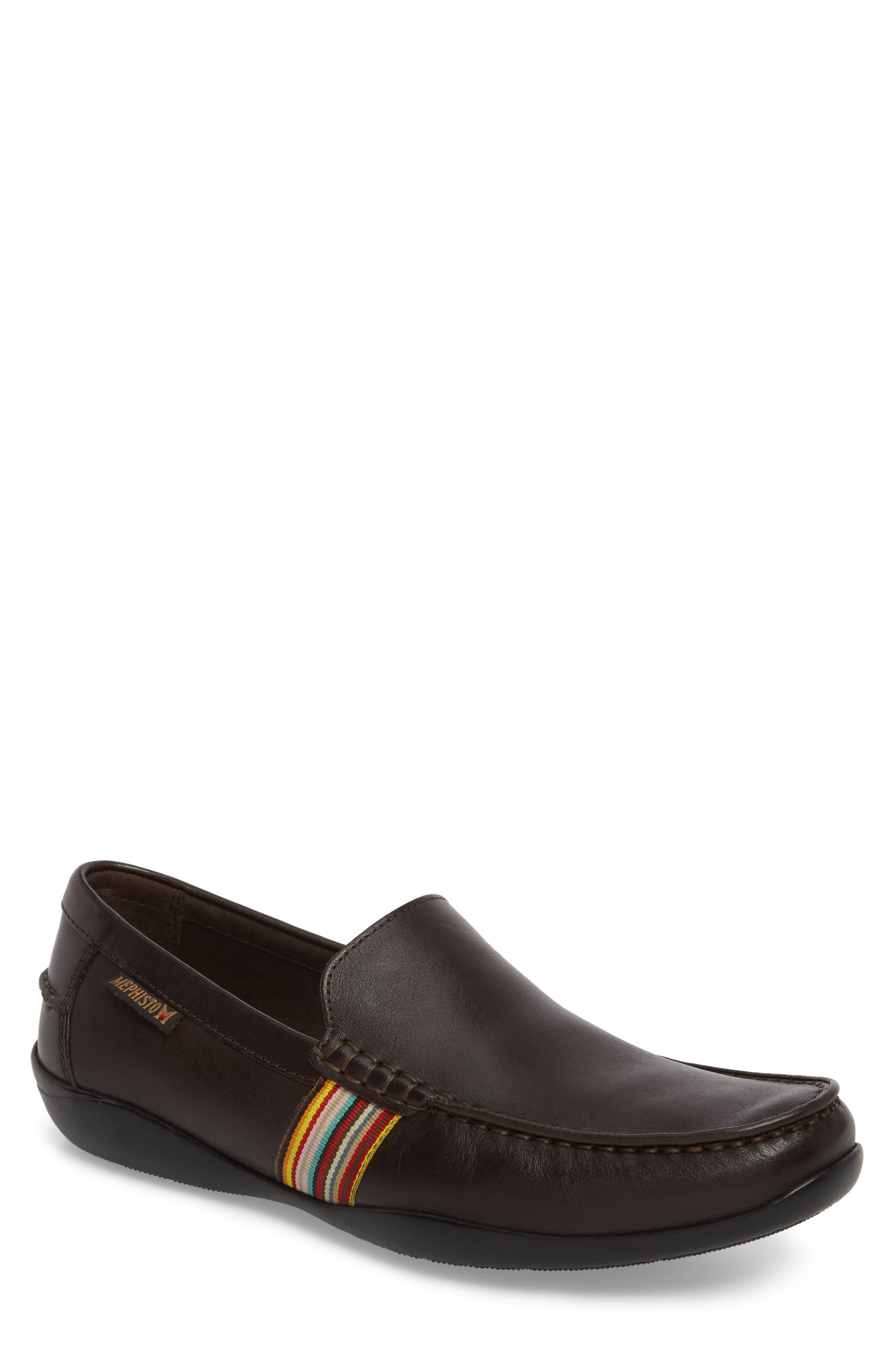 Idris Banded Loafer,                         Main,                         color, Dark Brown Leather