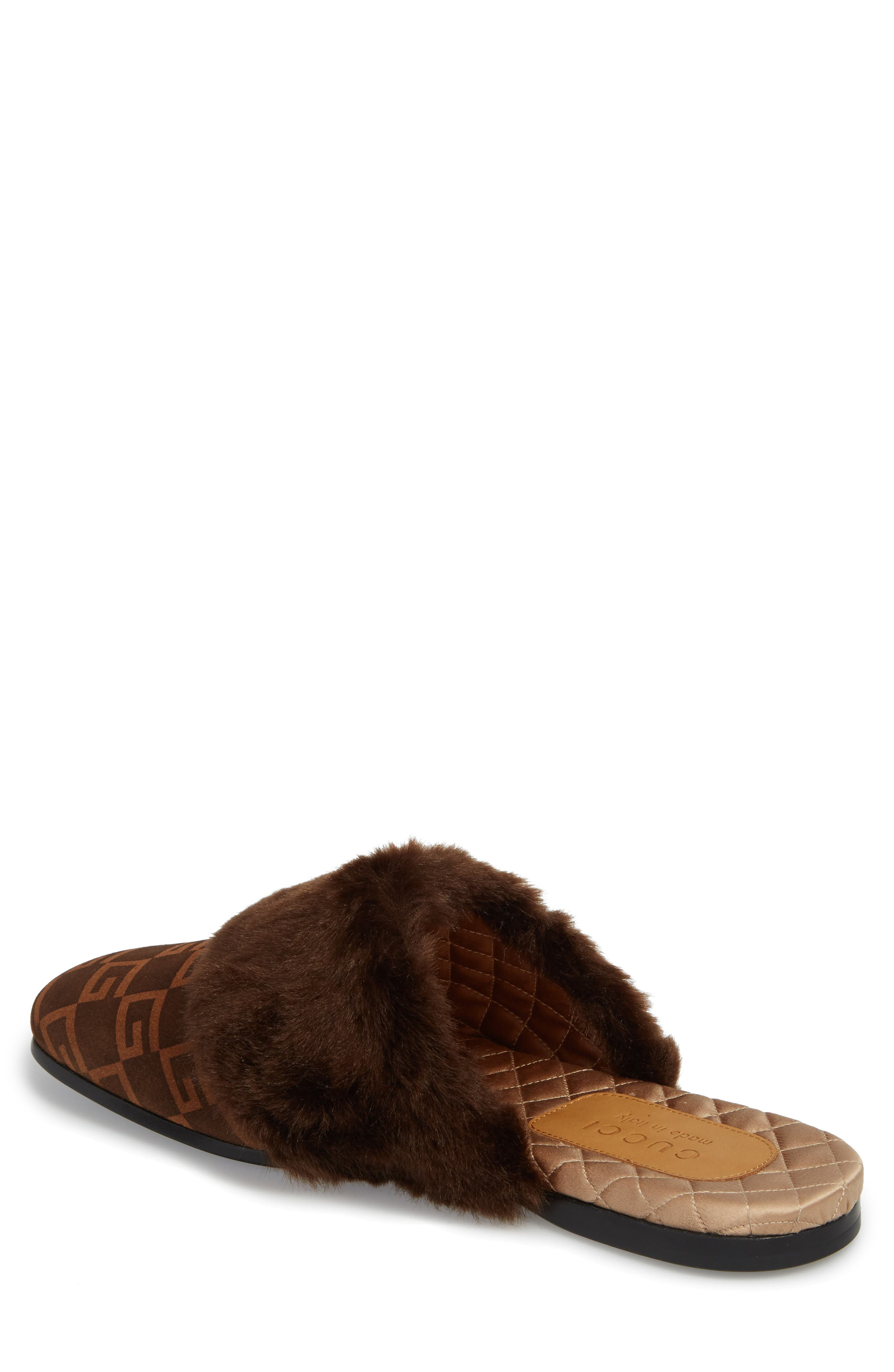 Lawrence Square-G Faux Fur Slipper,                             Alternate thumbnail 2, color,                             Brown/ Sigaro