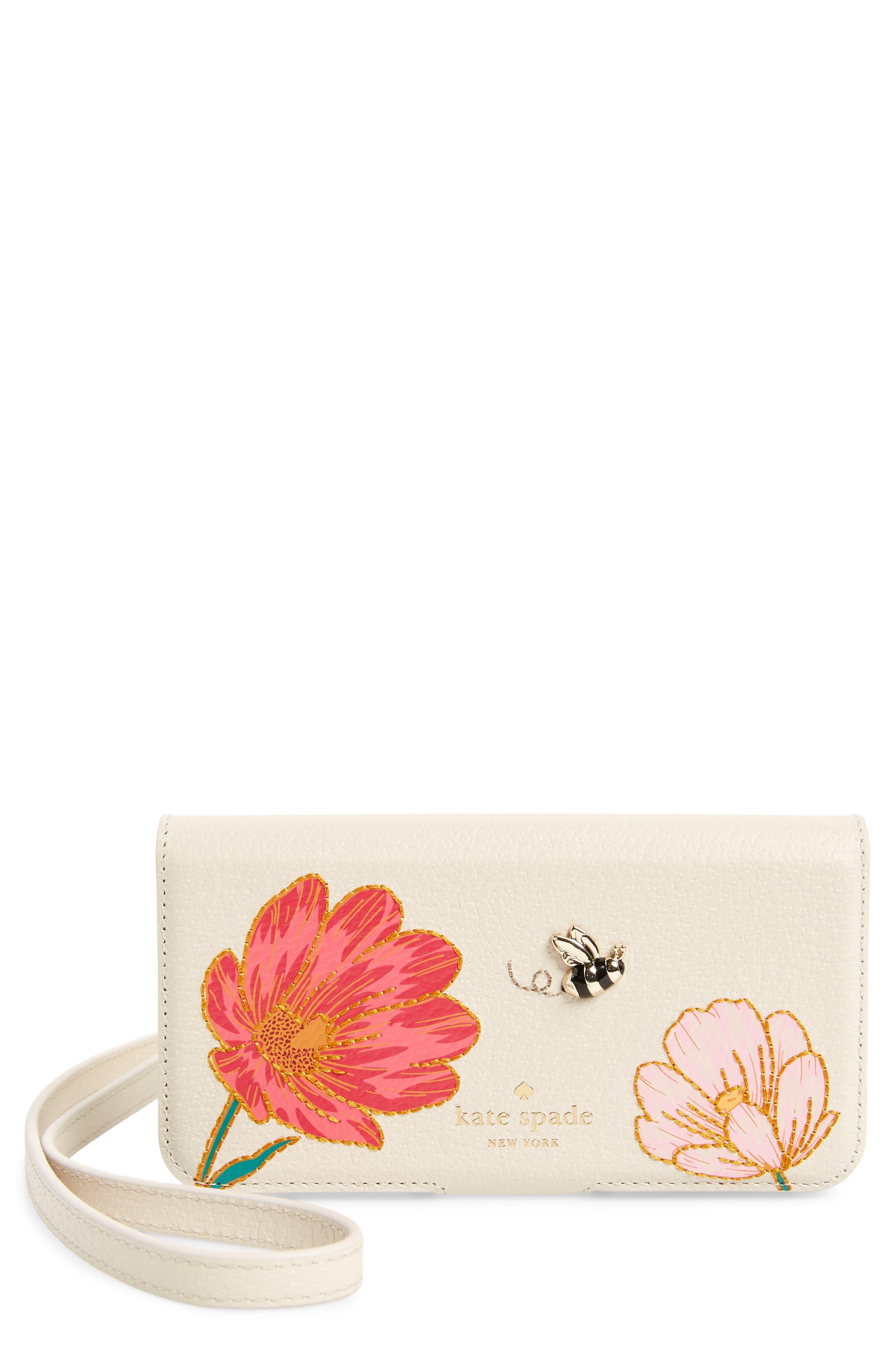 iPhone X embroidered bee leather folio crossbody,                         Main,                         color, Cream Multi