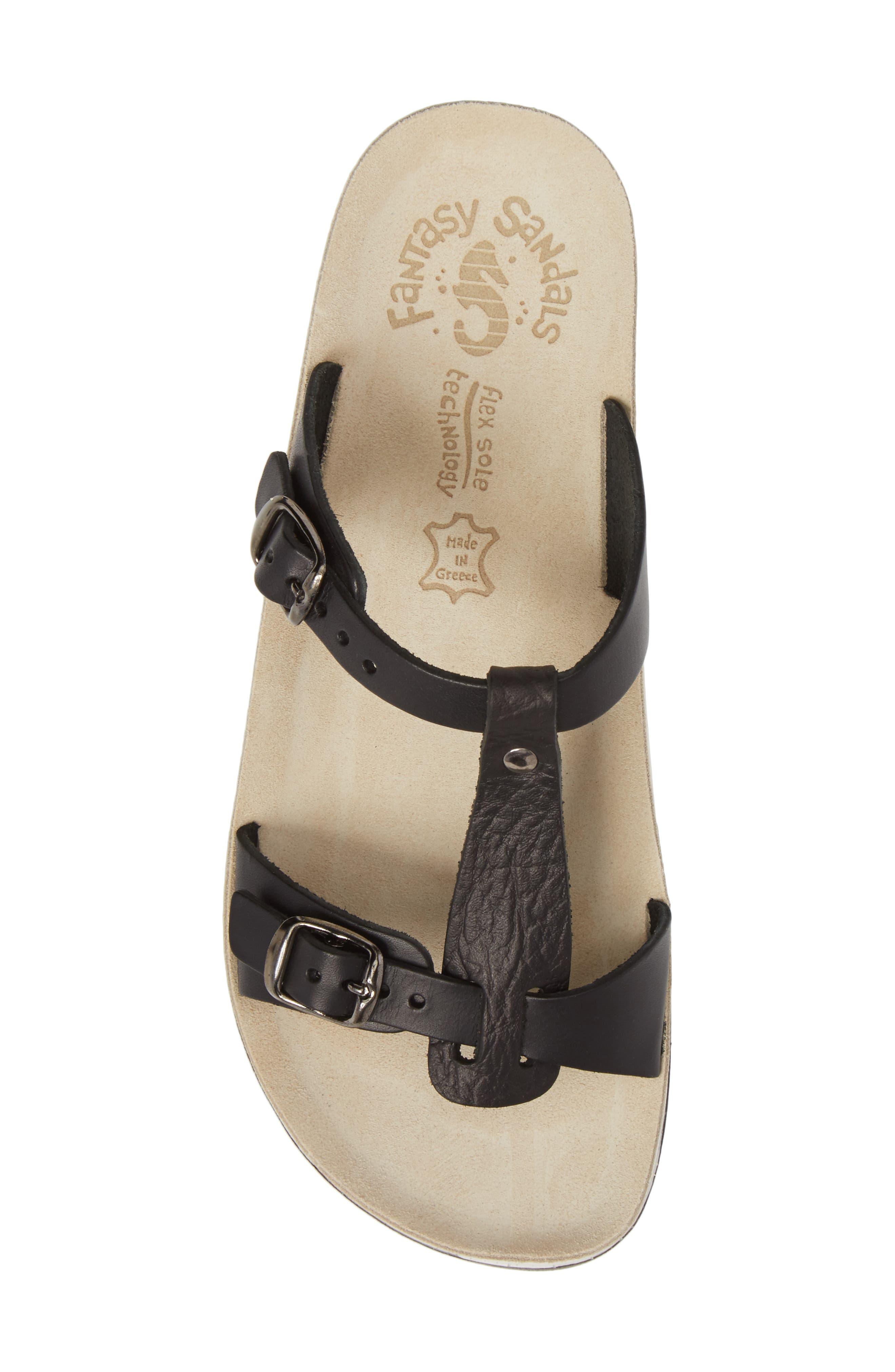Jessamine T-Strap Sandal,                             Alternate thumbnail 5, color,                             Black Volcano Leather