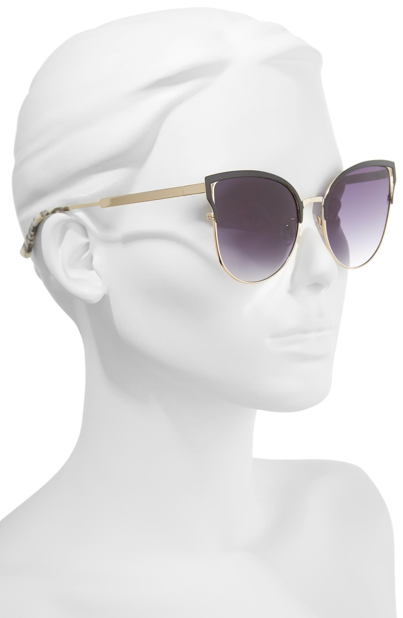 Hazel 57mm Cat Eye Sunglasses,                             Alternate thumbnail 2, color,                             Black