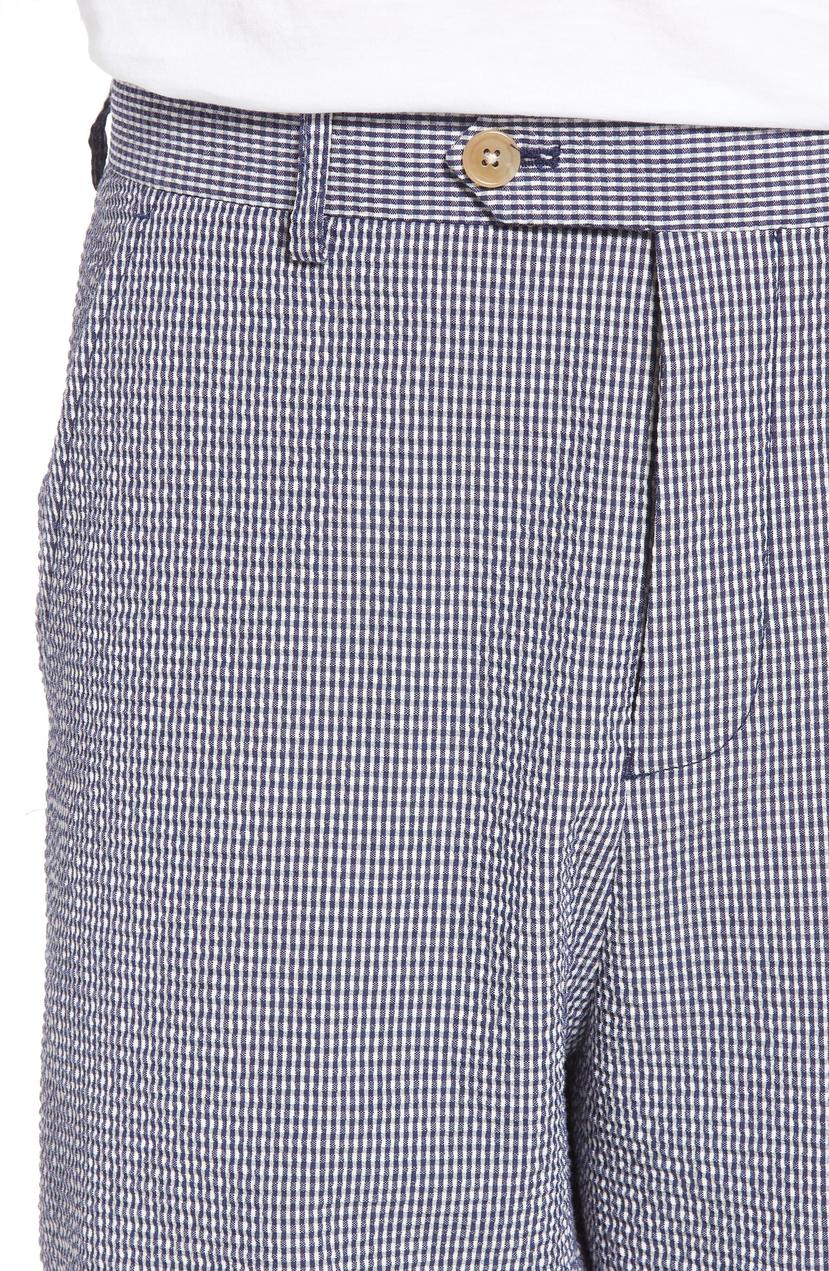 Stretch Seersucker Shorts,                             Alternate thumbnail 4, color,                             Marine Blue