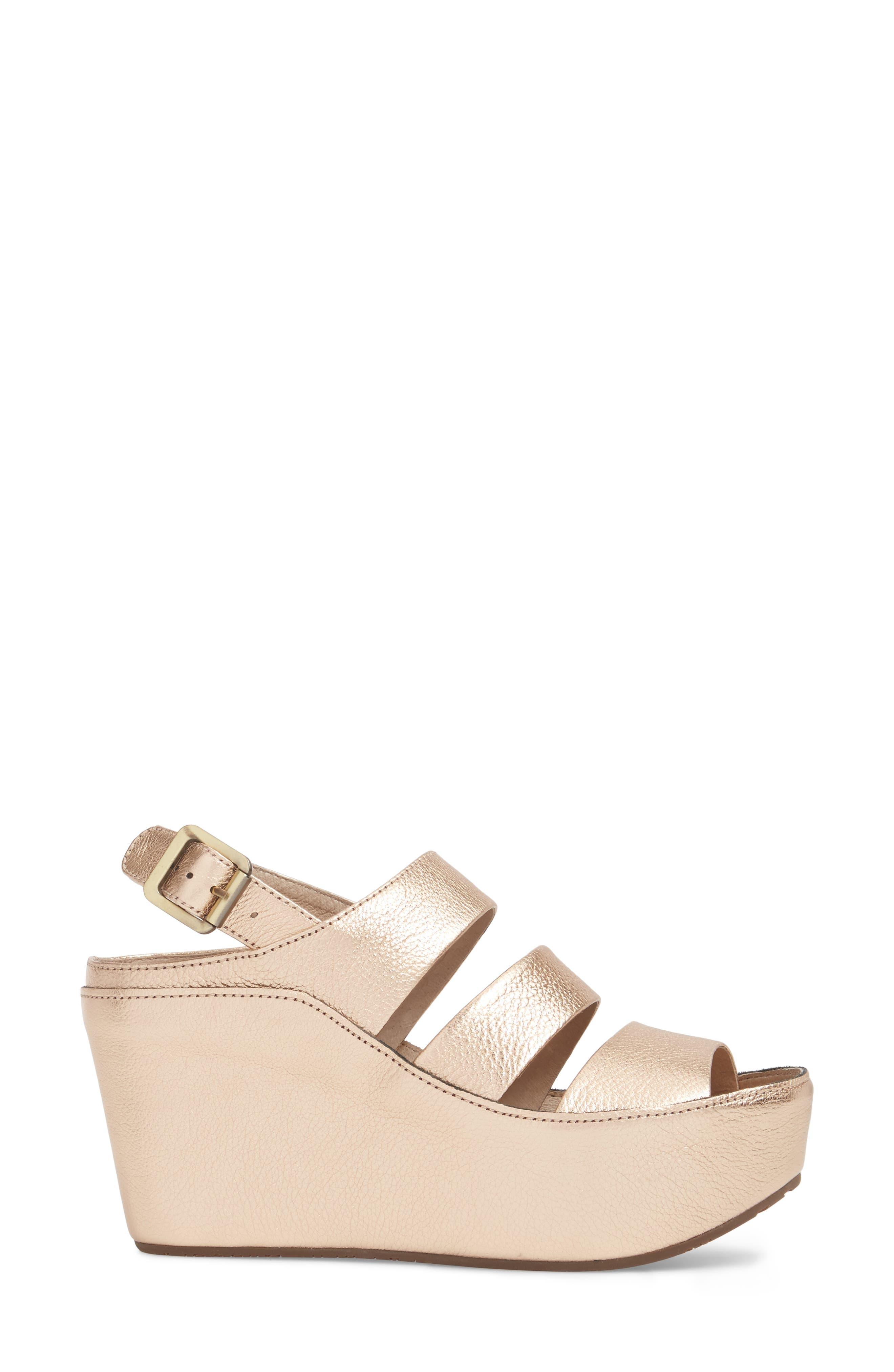 Windsor Platform Wedge Sandal,                             Alternate thumbnail 3, color,                             Rose Gold Leather