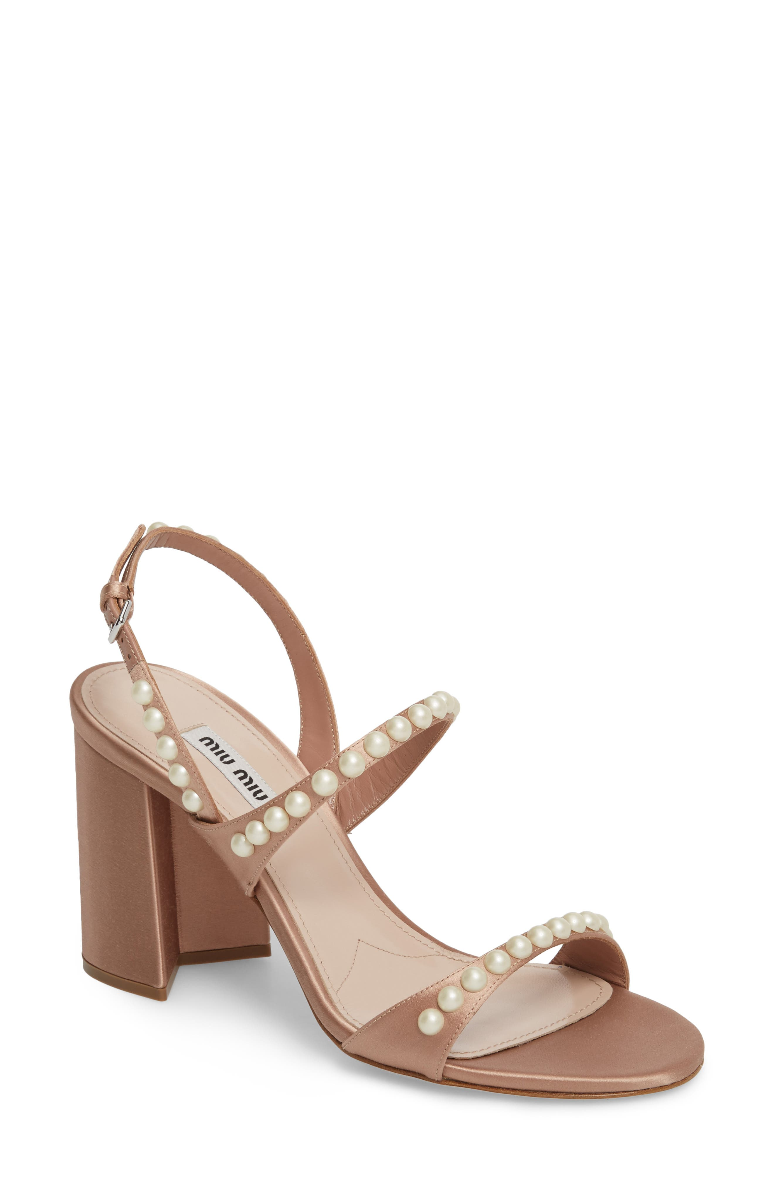 Miu Miu Imitation Pearl Slingback Sandal (Women)