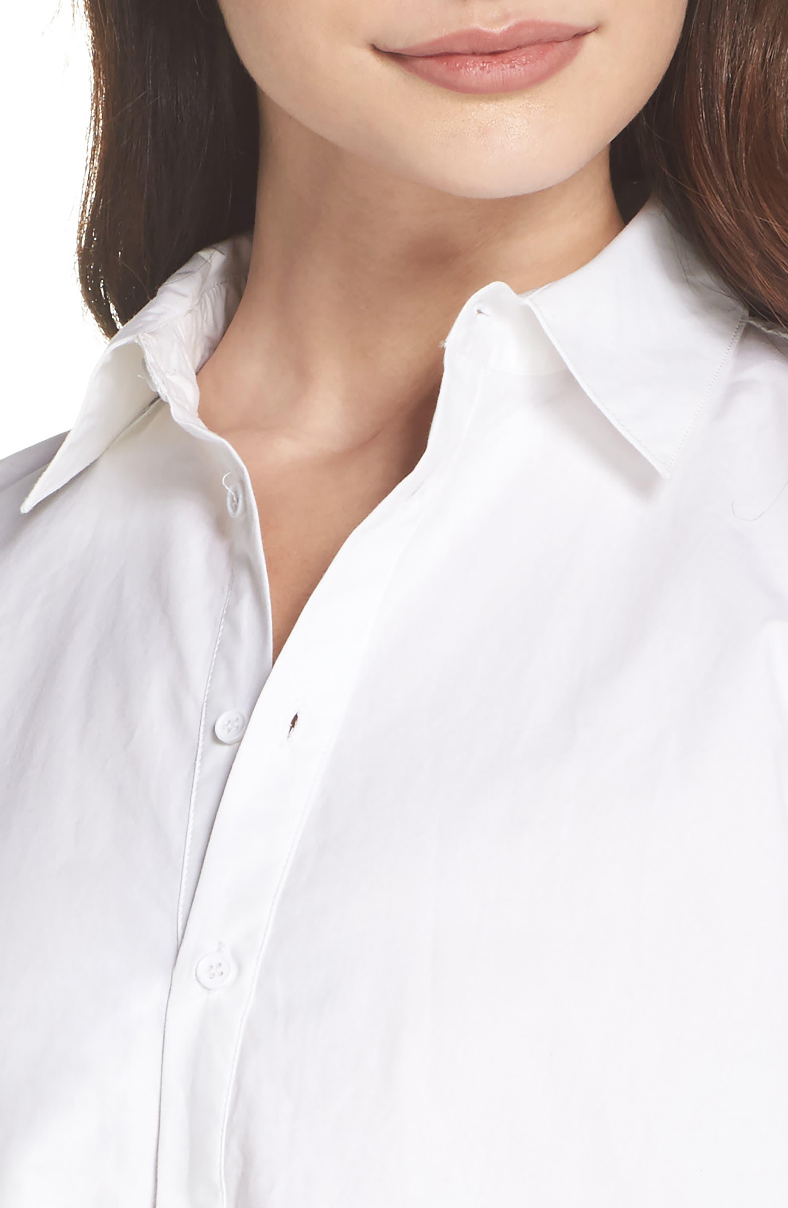Colt Cotton Poplin Shirtdress,                             Alternate thumbnail 4, color,                             Optic White