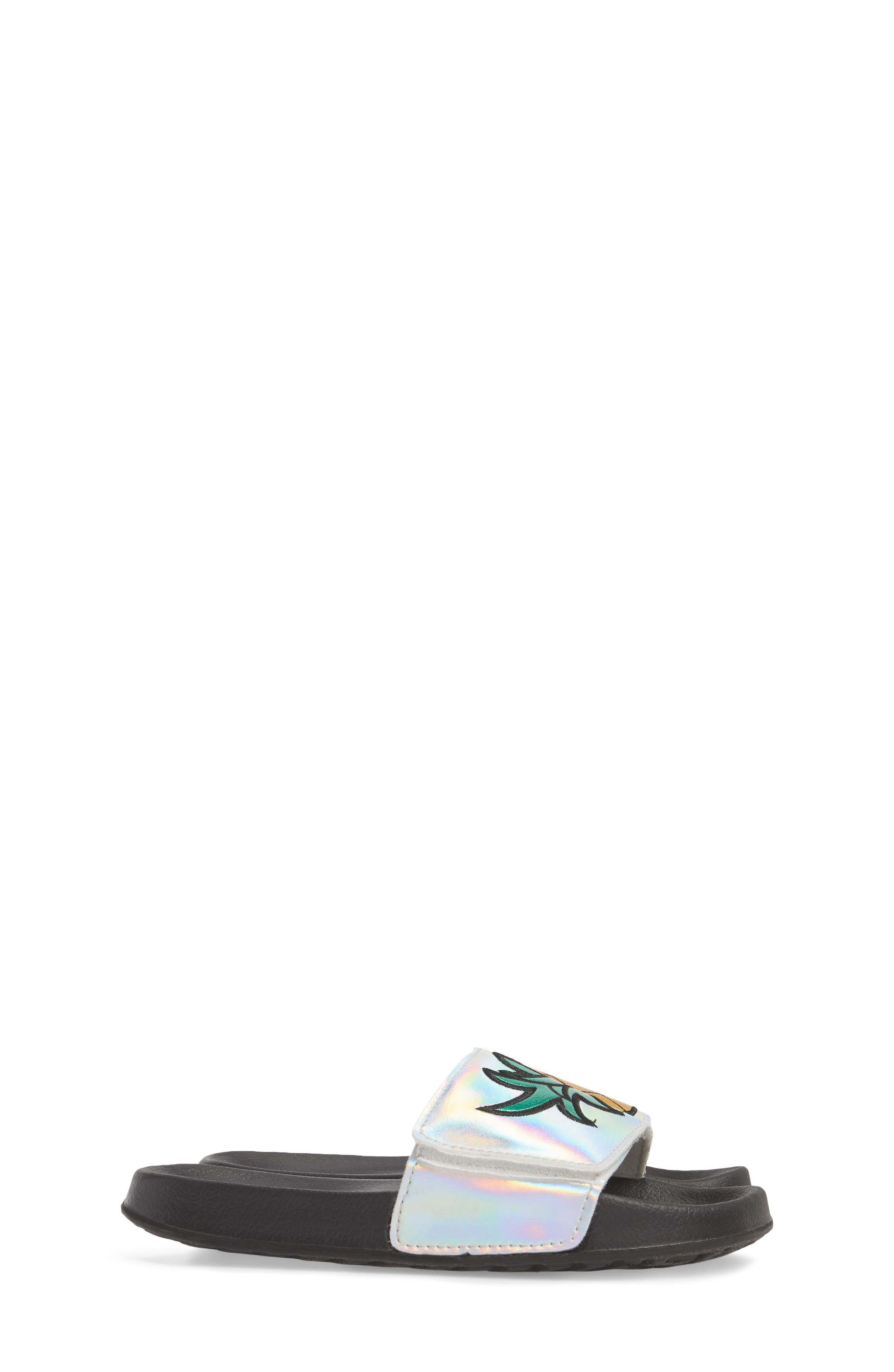 Mackie Pineapple Metallic Slide Sandal,                             Alternate thumbnail 4, color,                             Silver Holographic Leather