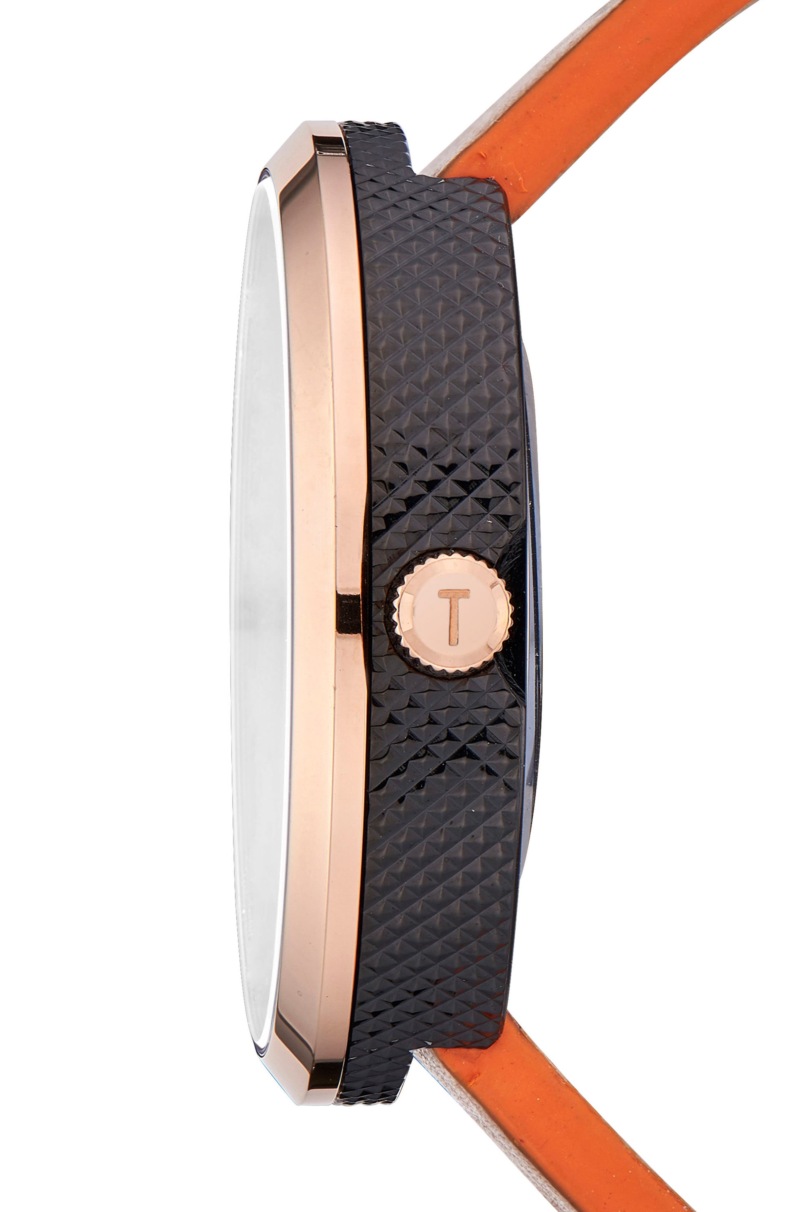 Josh Leather Strap Watch, 42mm,                             Alternate thumbnail 2, color,                             Black/ Brown