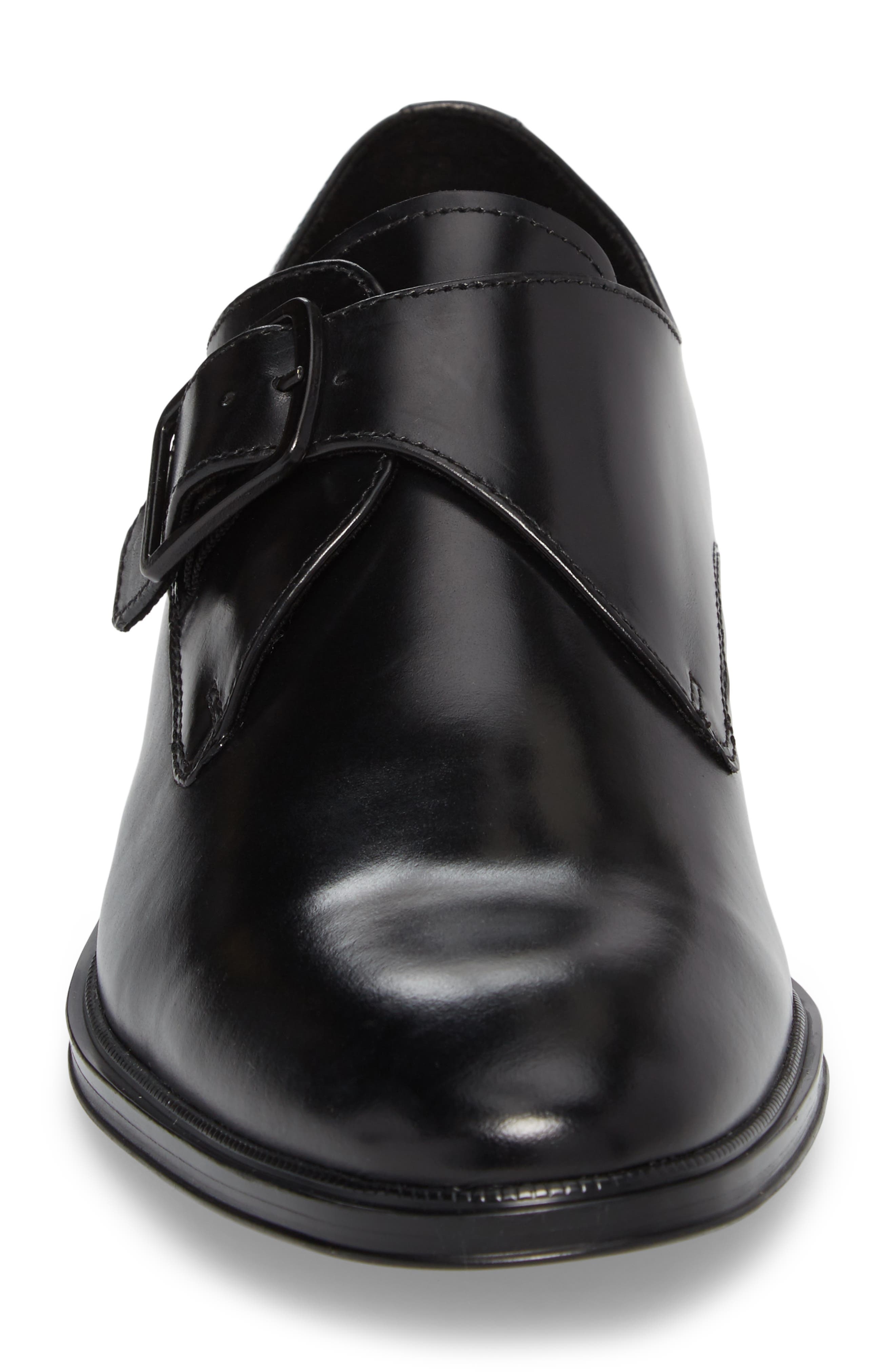 Tully Single Buckle Monk Shoe,                             Alternate thumbnail 4, color,                             Black Leather