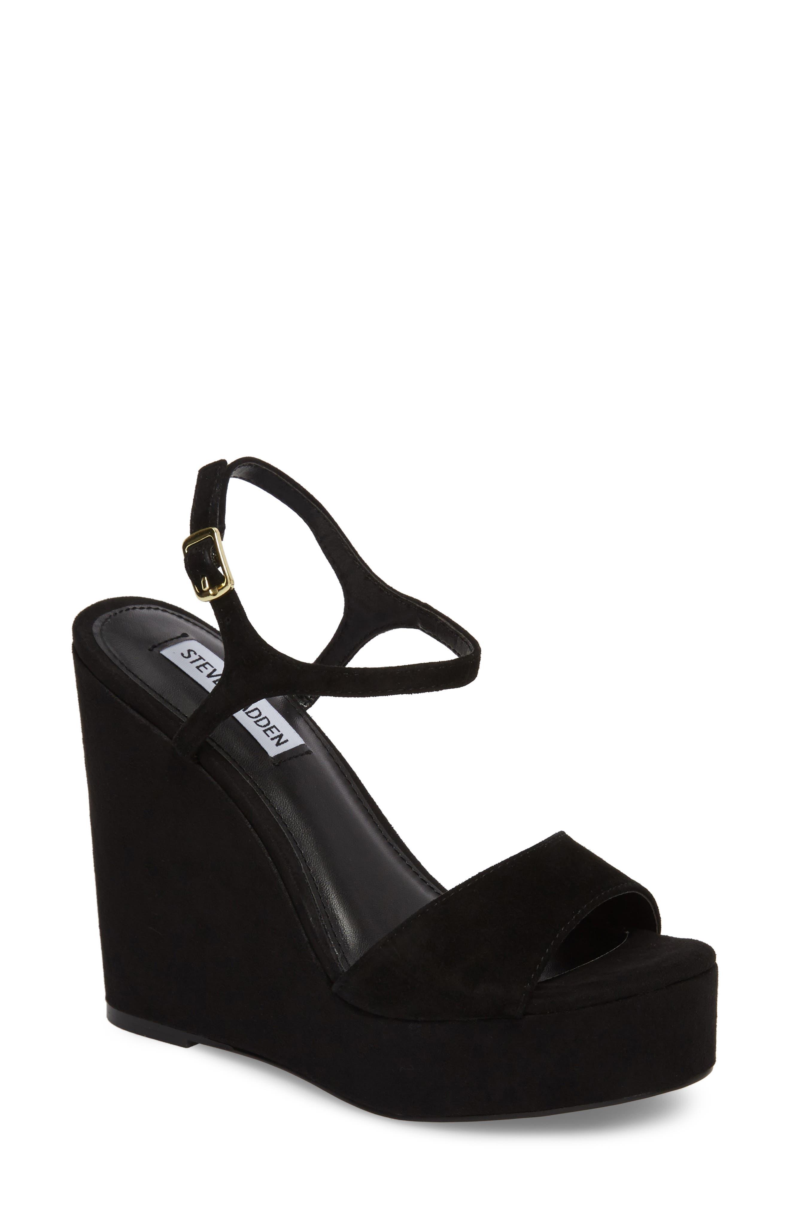 Truce Wedge Sandal,                             Main thumbnail 1, color,                             Black Suede