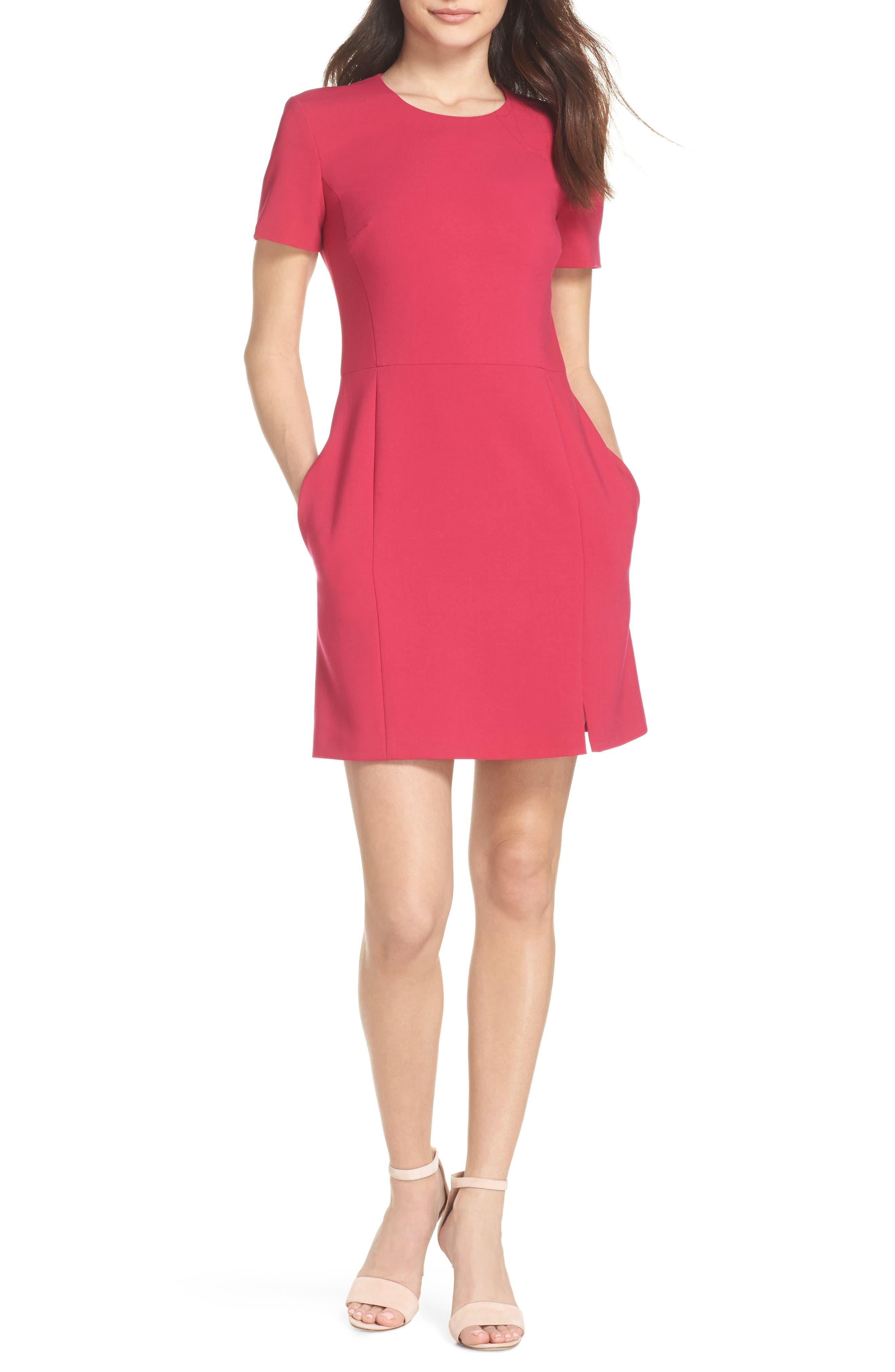 Whisper Light Sheath Dress,                         Main,                         color, Magenta
