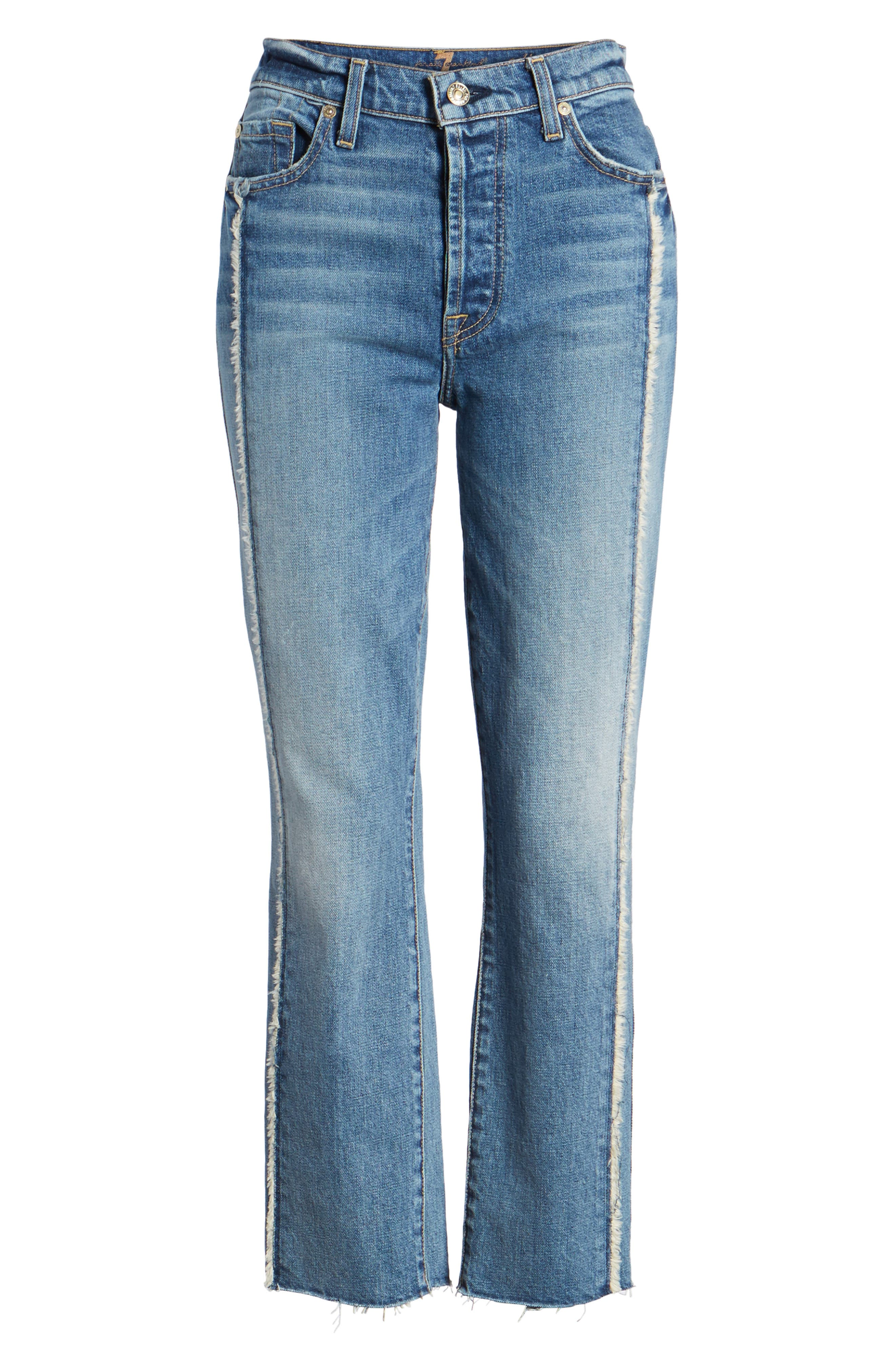 Edie Fray Seams Crop Straight Leg Jeans,                             Alternate thumbnail 7, color,                             Canyon Ranch