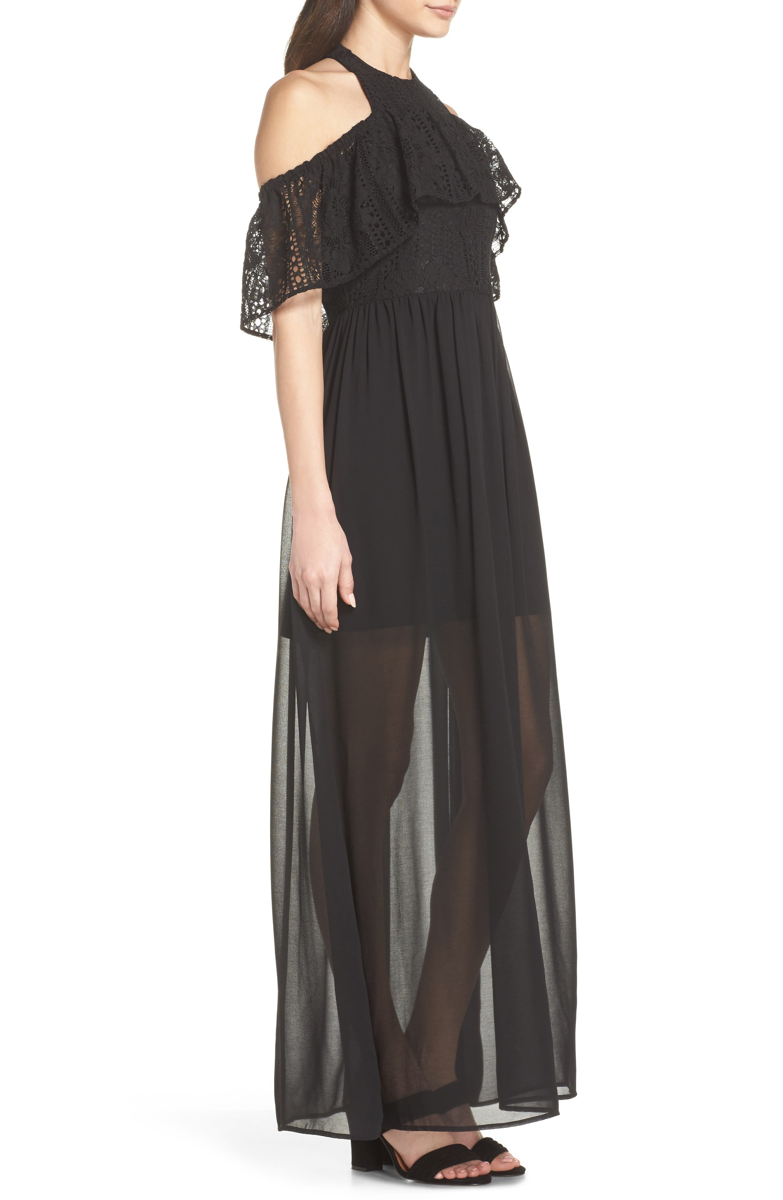 One Hand One Heart Cold Shoulder Maxi Dress,                             Alternate thumbnail 4, color,                             Black