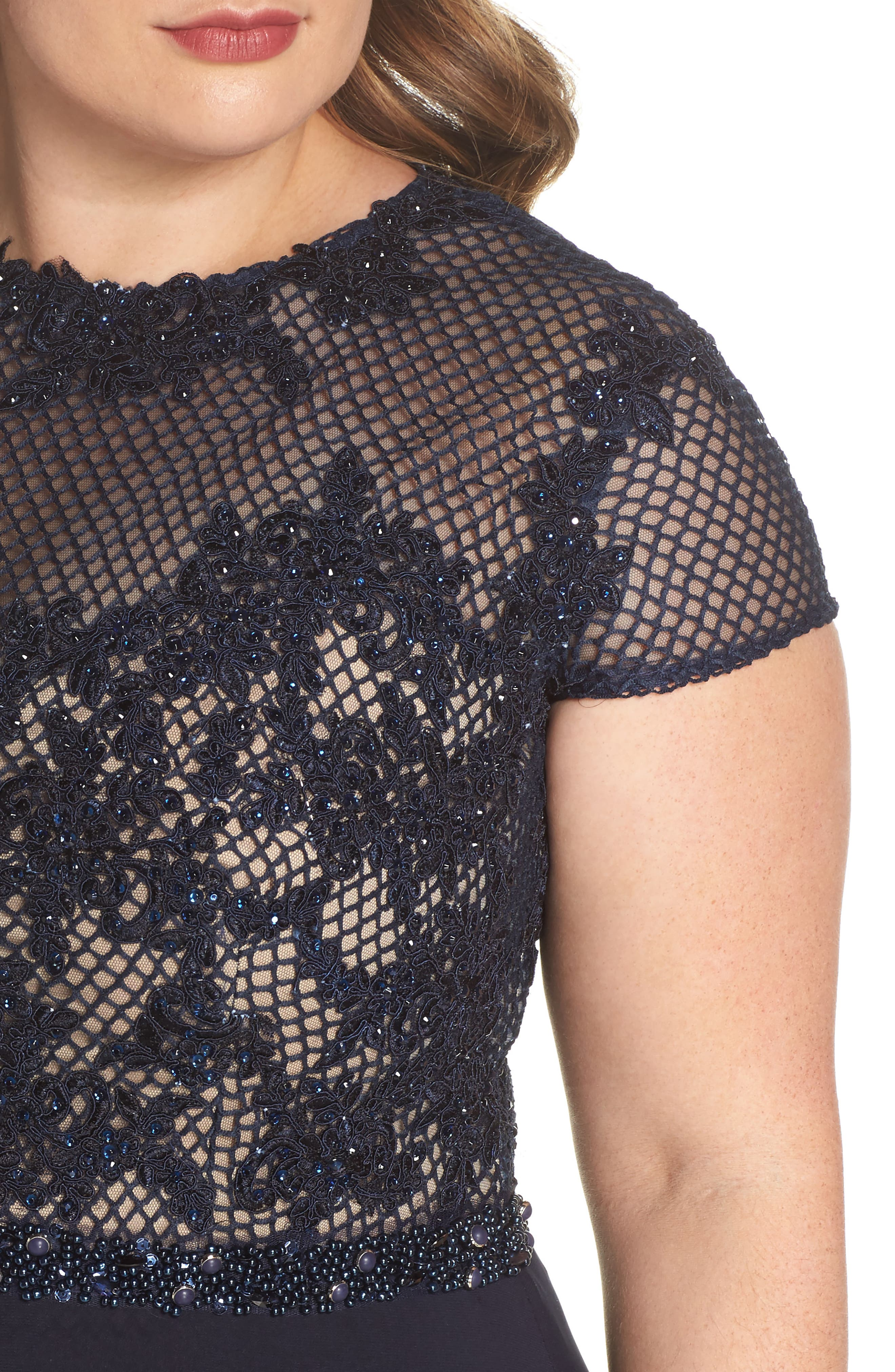 Embellished Crochet & Jersey Gown,                             Alternate thumbnail 4, color,                             Navy