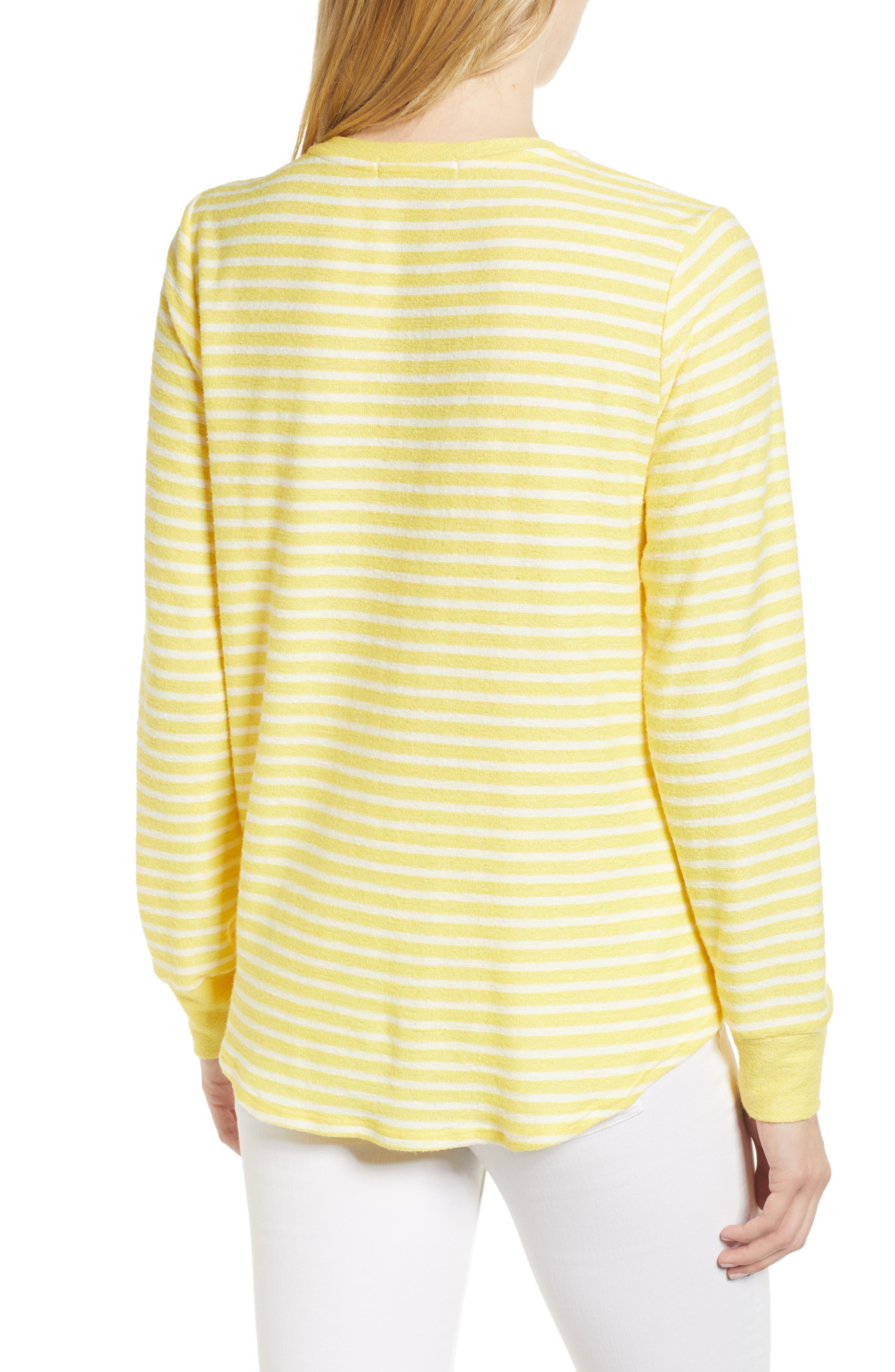 Tie Front Stripe Top,                             Alternate thumbnail 2, color,                             Yellow/ White Stripe