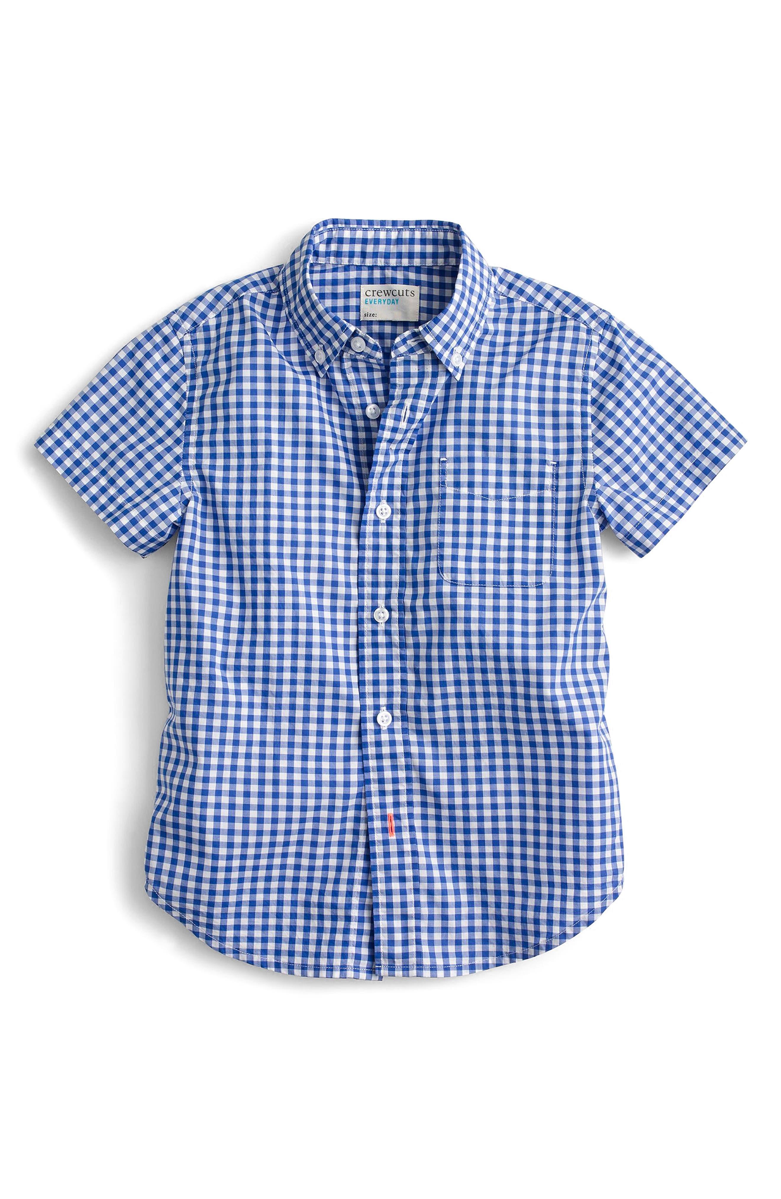 Secret Wash Short Sleeve Gingham Shirt,                             Main thumbnail 1, color,                             Rain Blue White