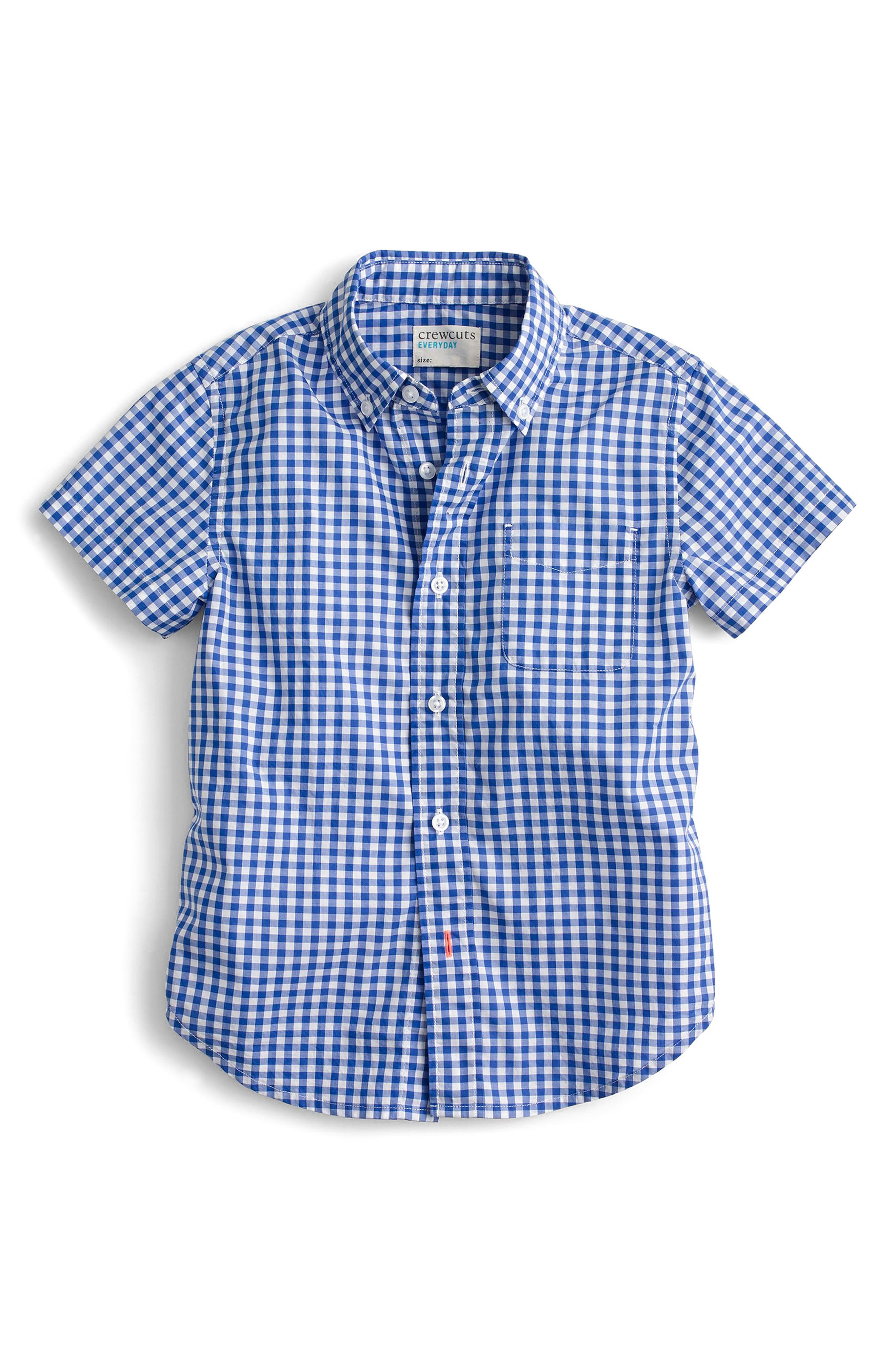Secret Wash Short Sleeve Gingham Shirt,                         Main,                         color, Rain Blue White