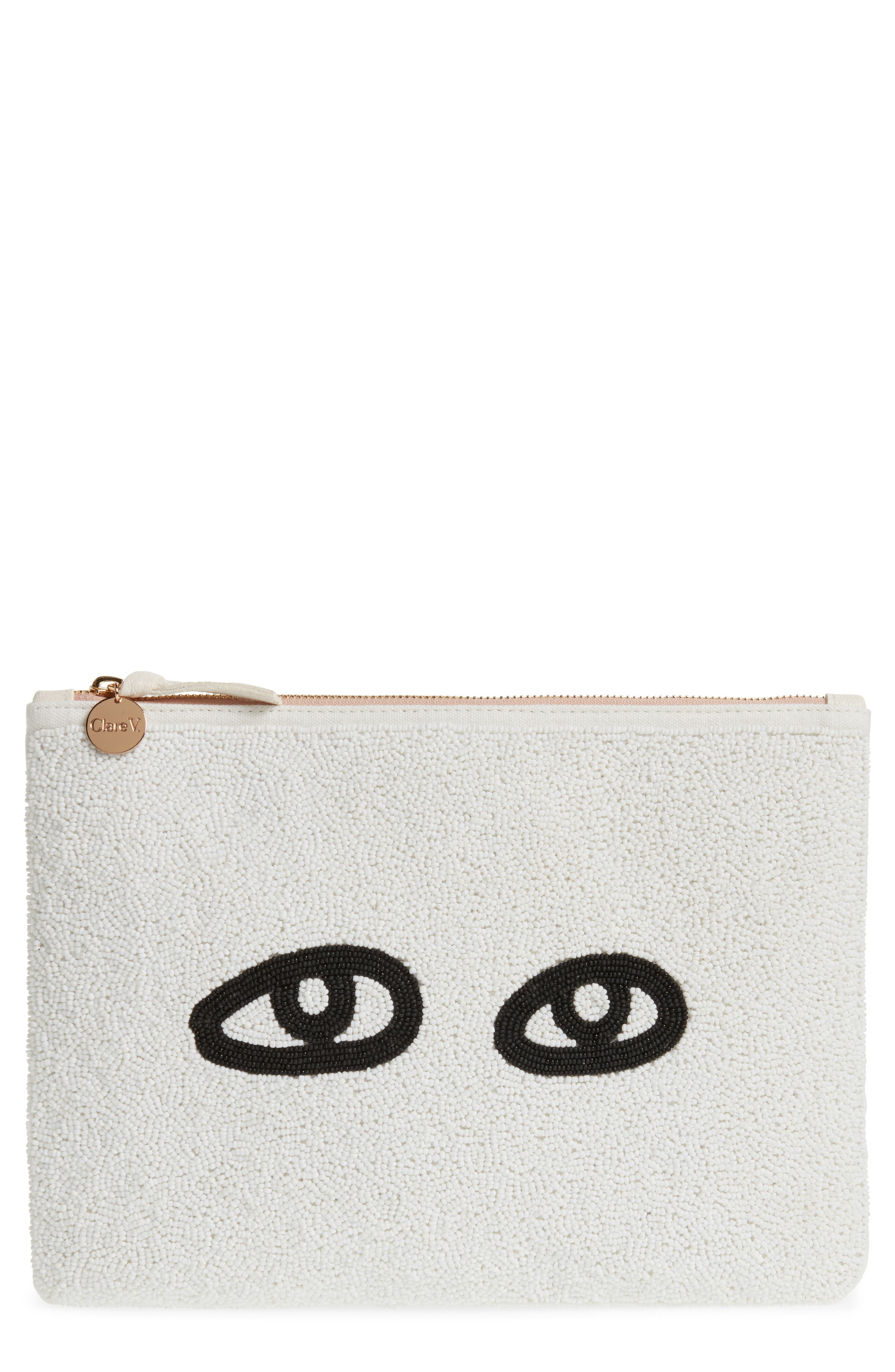 Eyes Printed Nappa Leather Clutch,                             Main thumbnail 1, color,                             Beaded White With Black Eyes