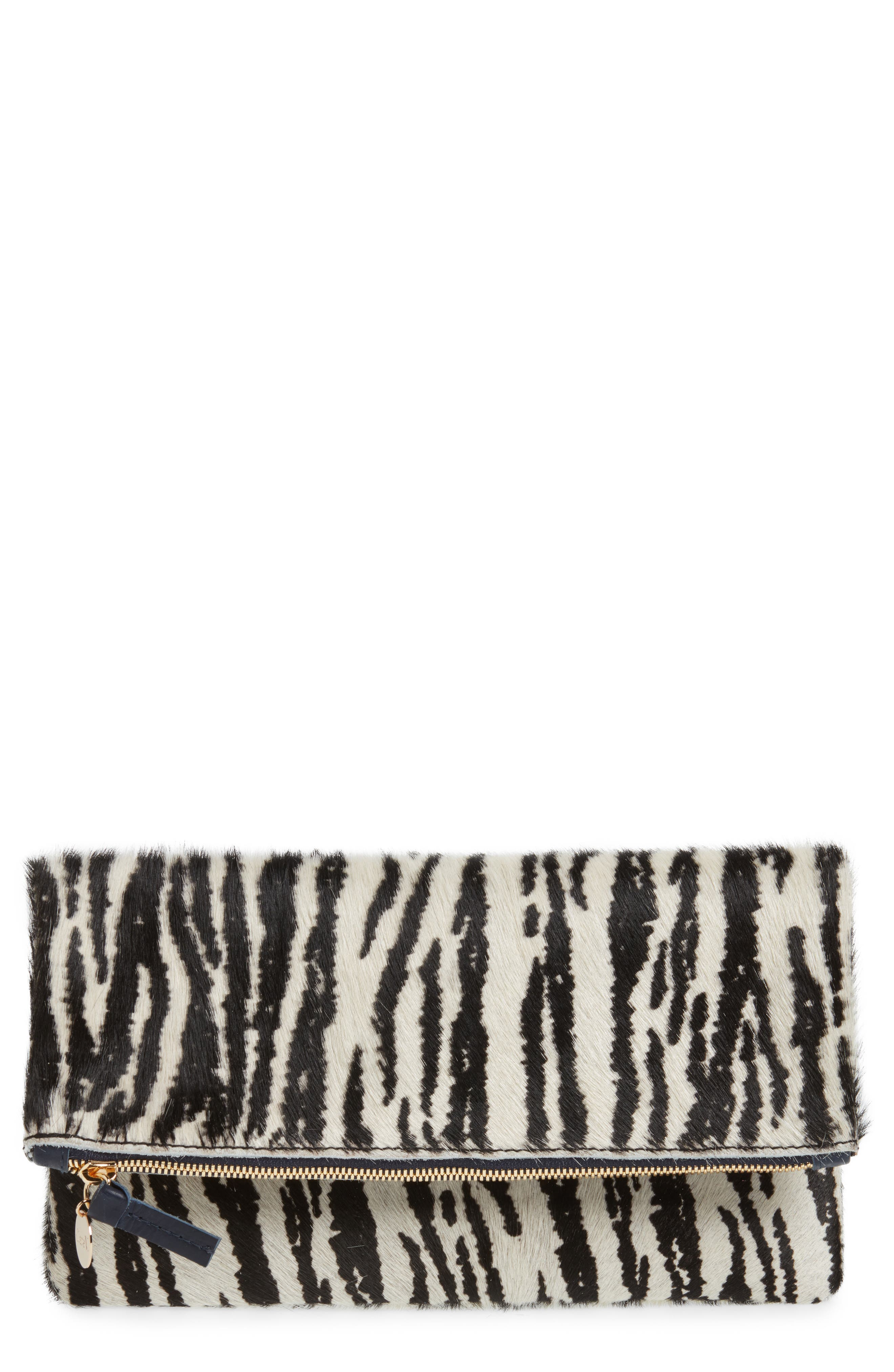 Zebra Print Genuine Calf Hair Foldover Clutch,                             Main thumbnail 1, color,                             Zebra Hair On