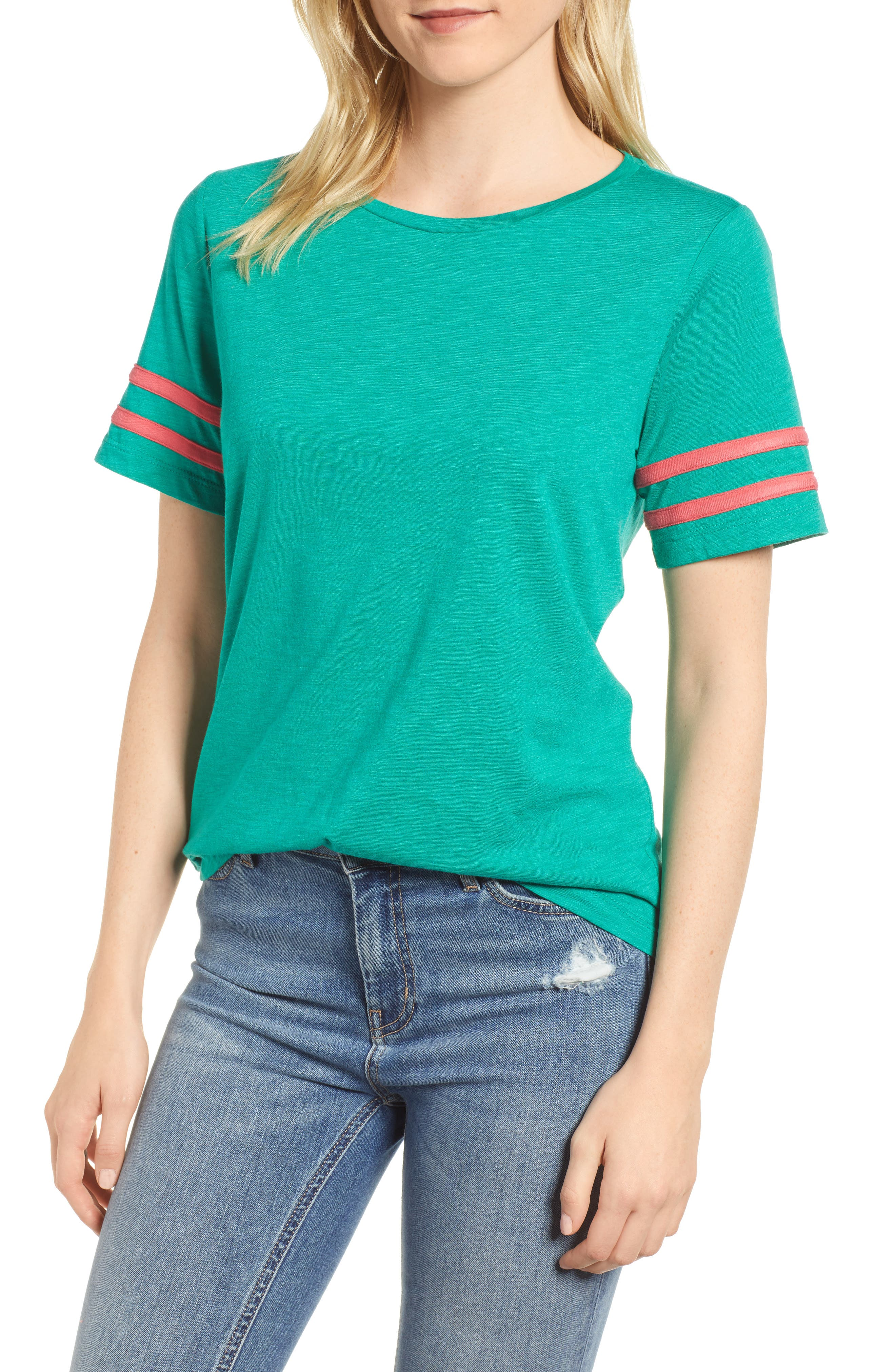 Gibson Stripe Sleeve Cotton Blend Athletic Tee (Regular & Petite)